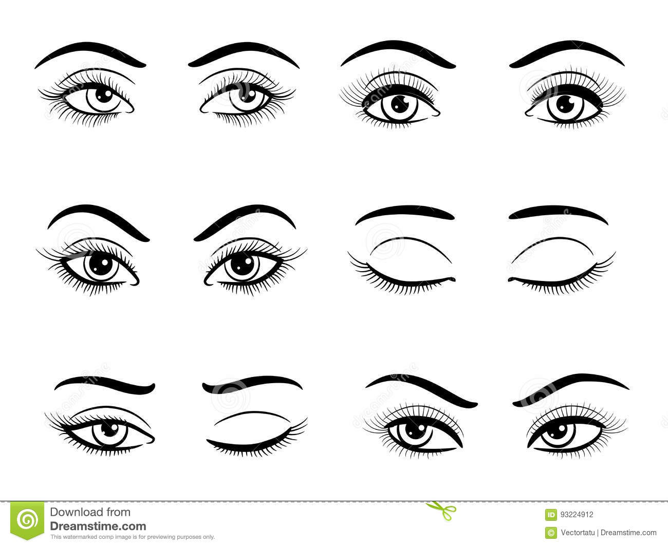 Open And Closed Female Eyes Set Stock Vector Illustration Of