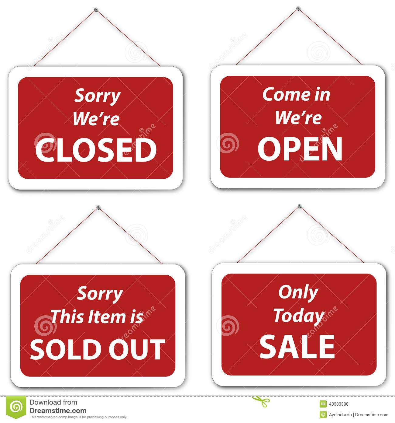 open closed sale sold out hanging signs stock illustration image 43383380