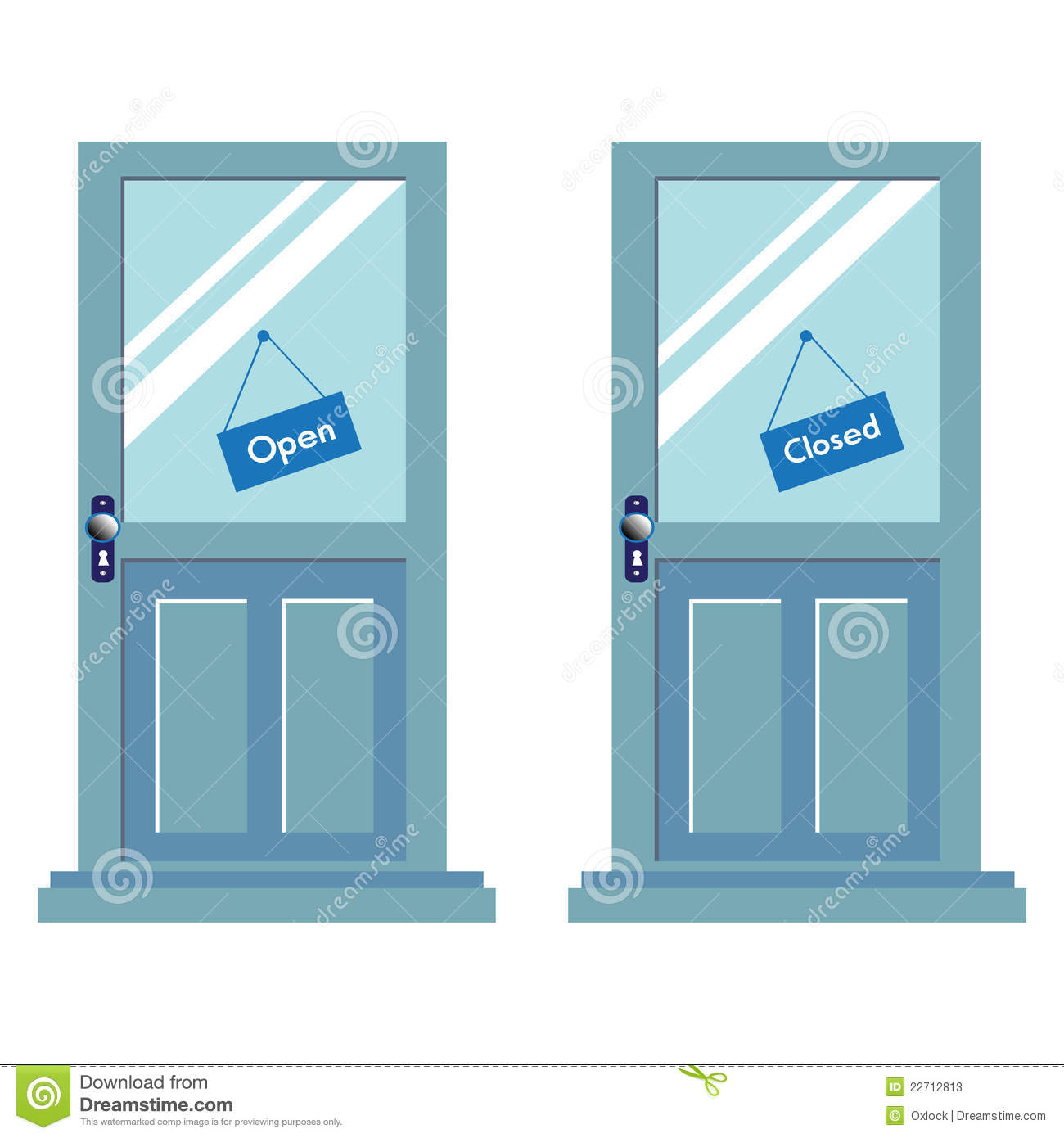 Open And Closed Signs On Two Doors Stock Photos - Image ...
