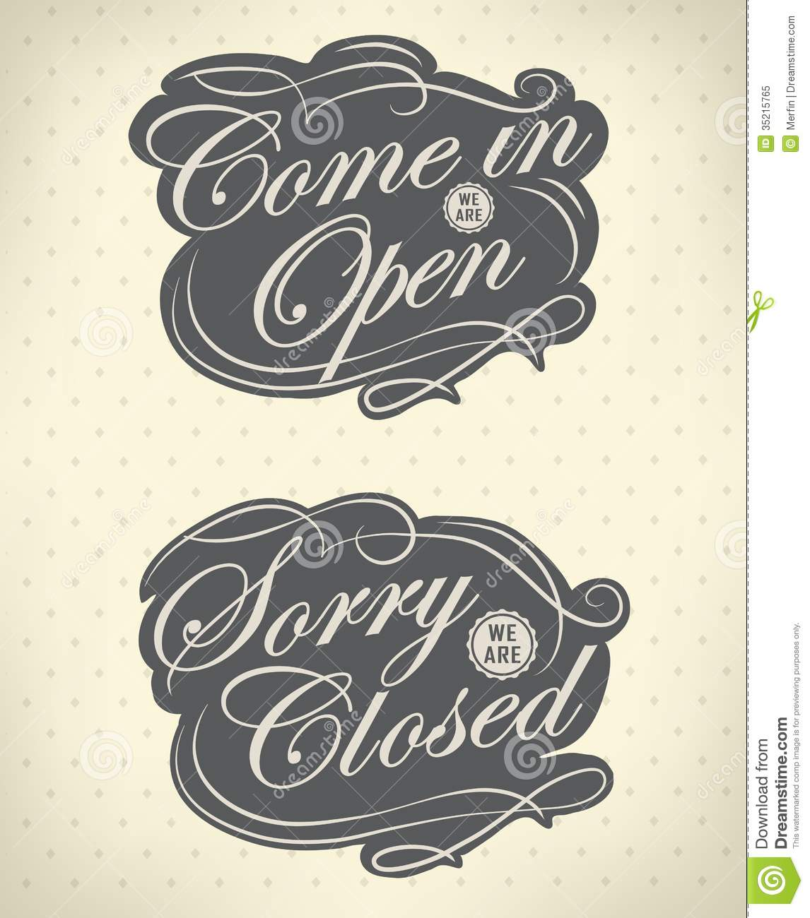 Open And Closed Vintage Retro Signs Royalty Free Stock ...
