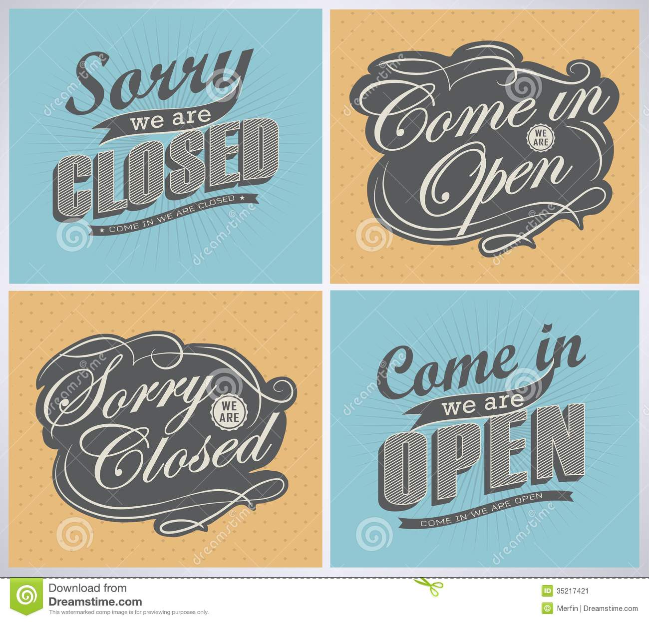Open And Closed Vintage Retro Signs Stock Vector - Image ...