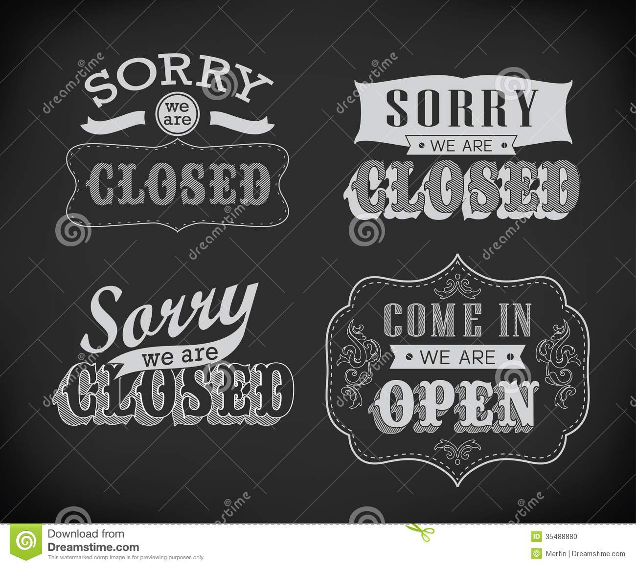 open and closed vintage retro signs stock photo image 35488880