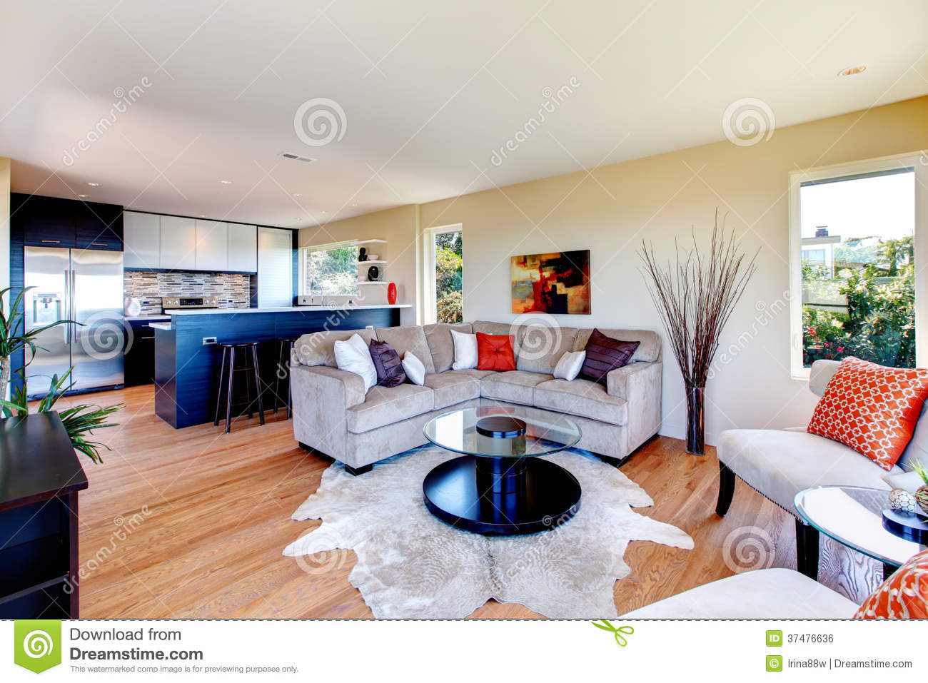 Open Concept Kitchen Living Room Royalty Free Stock Image