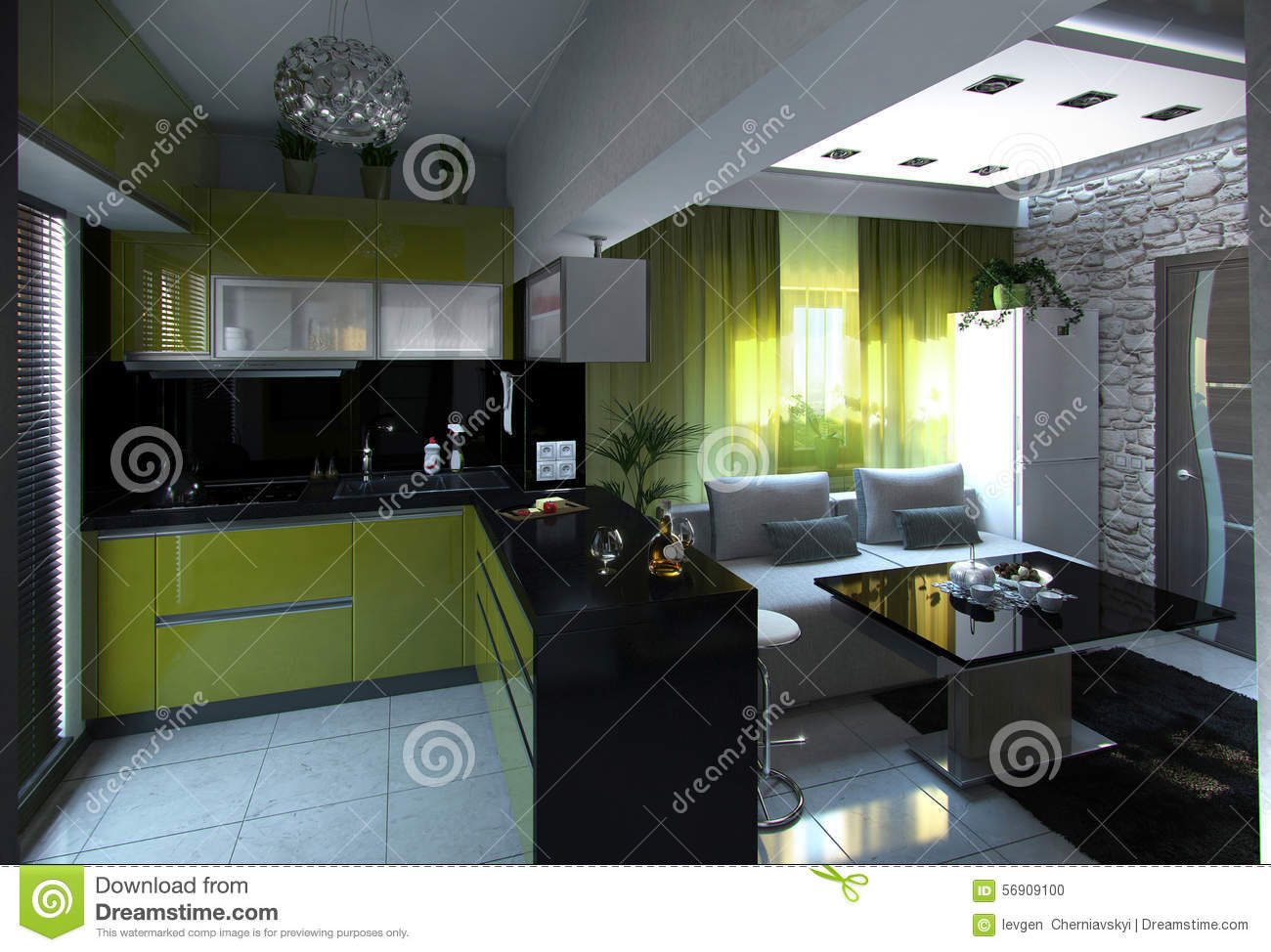 Open concept kitchen and living room 3d rendering stock for Room design concept