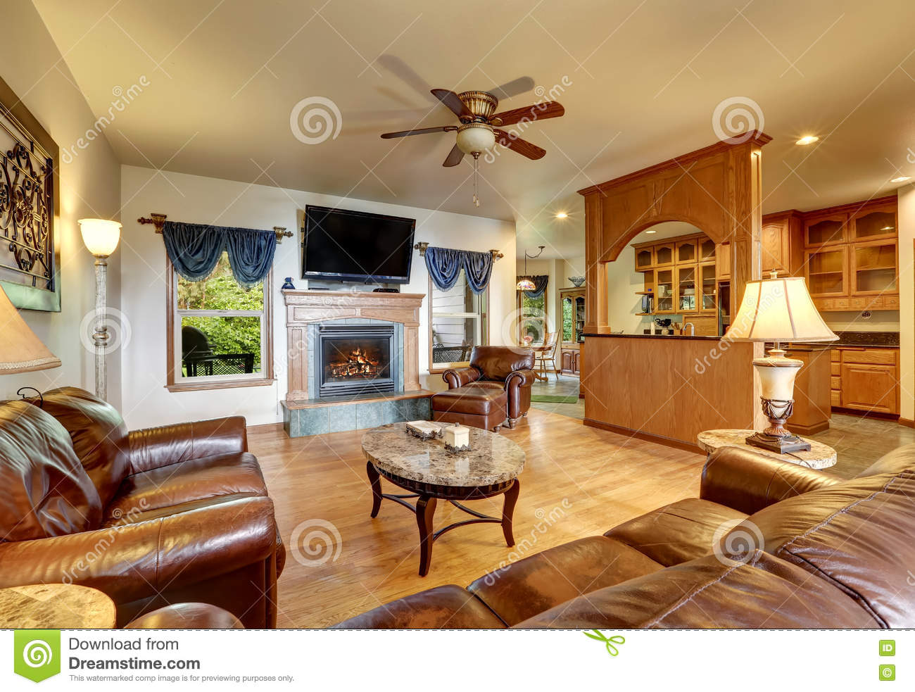 Royalty Free Stock Photo. Download Open Concept Living Room ...