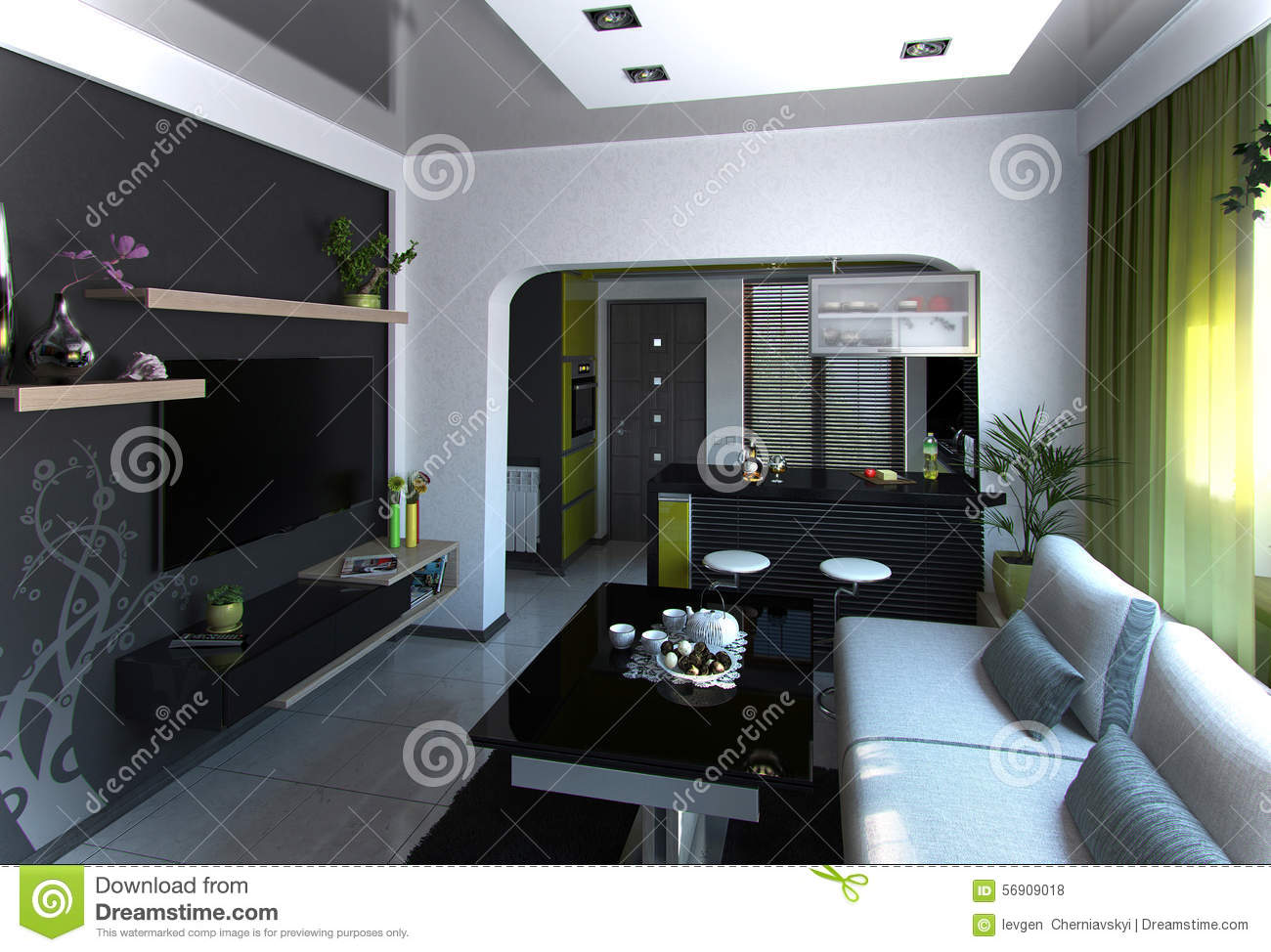 Open concept living room and kitchen scene 4 3d rendering for Room design concept