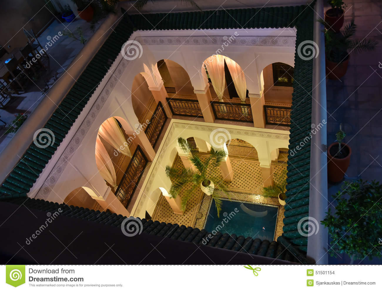 Open courtyard of moroccan house stock photo image of for Moroccan house plans