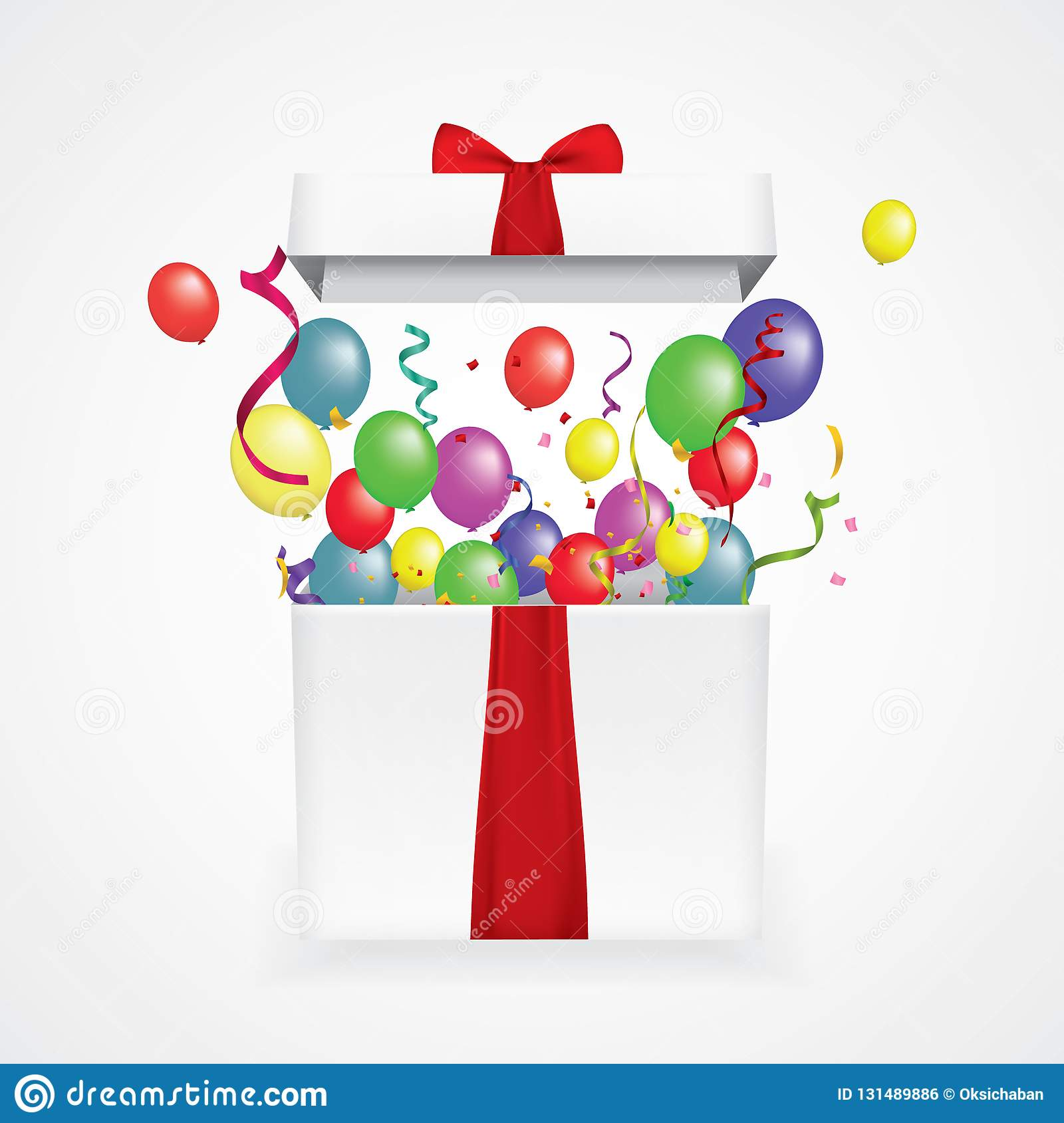 Open 3d realistic gift box with confetti and balls. Vector illustration. surprise