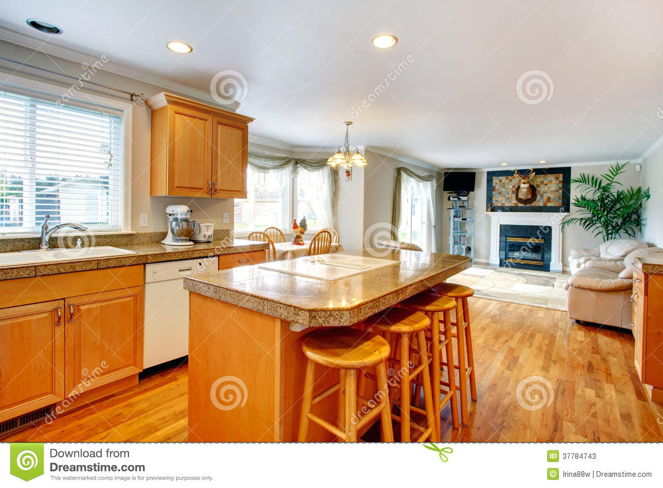 Open Design Idea For Living And Kitchen Room With Dining