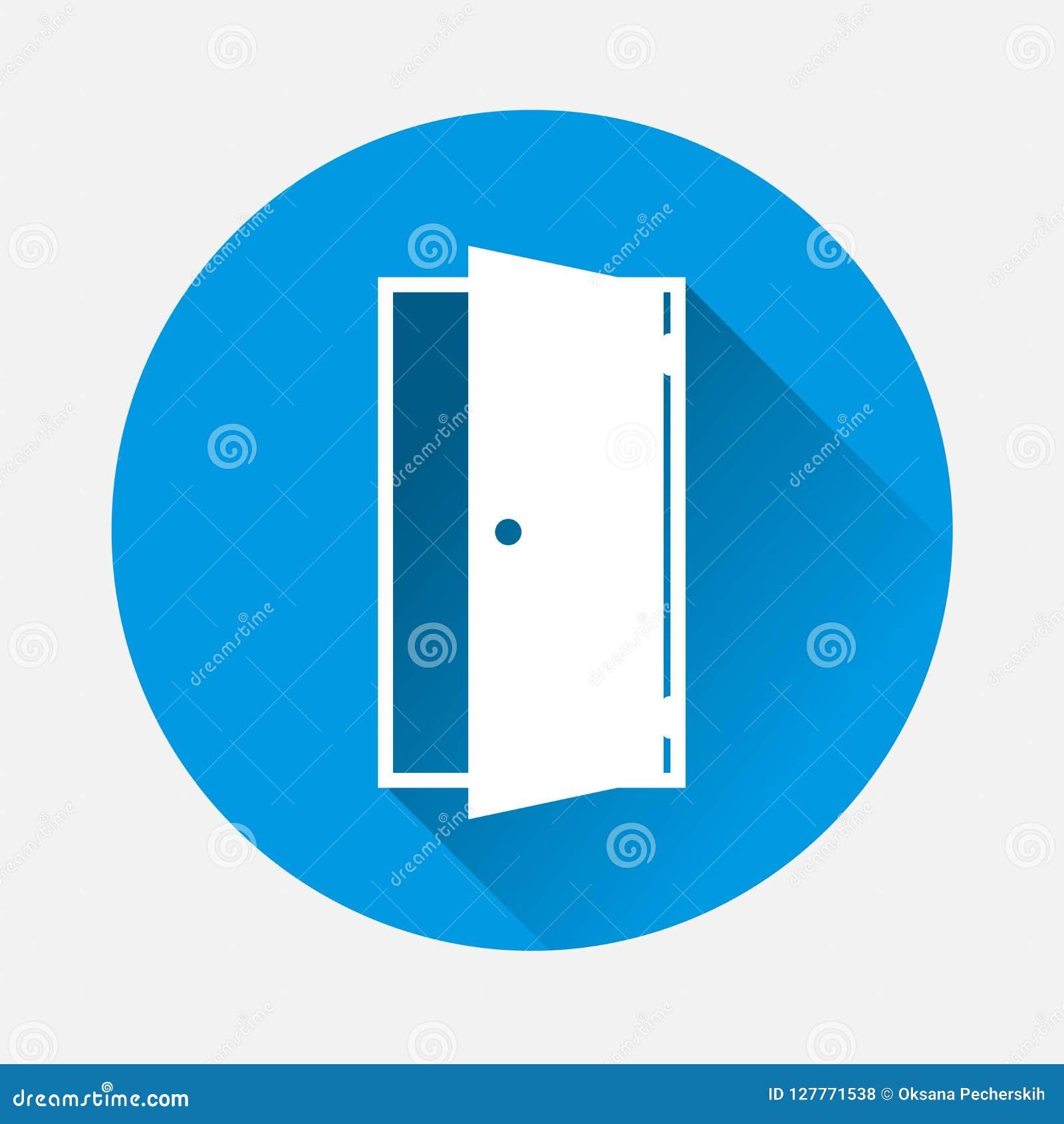 Open deur vectorpictogram op blauwe achtergrond Vlak indica beeldpictogram