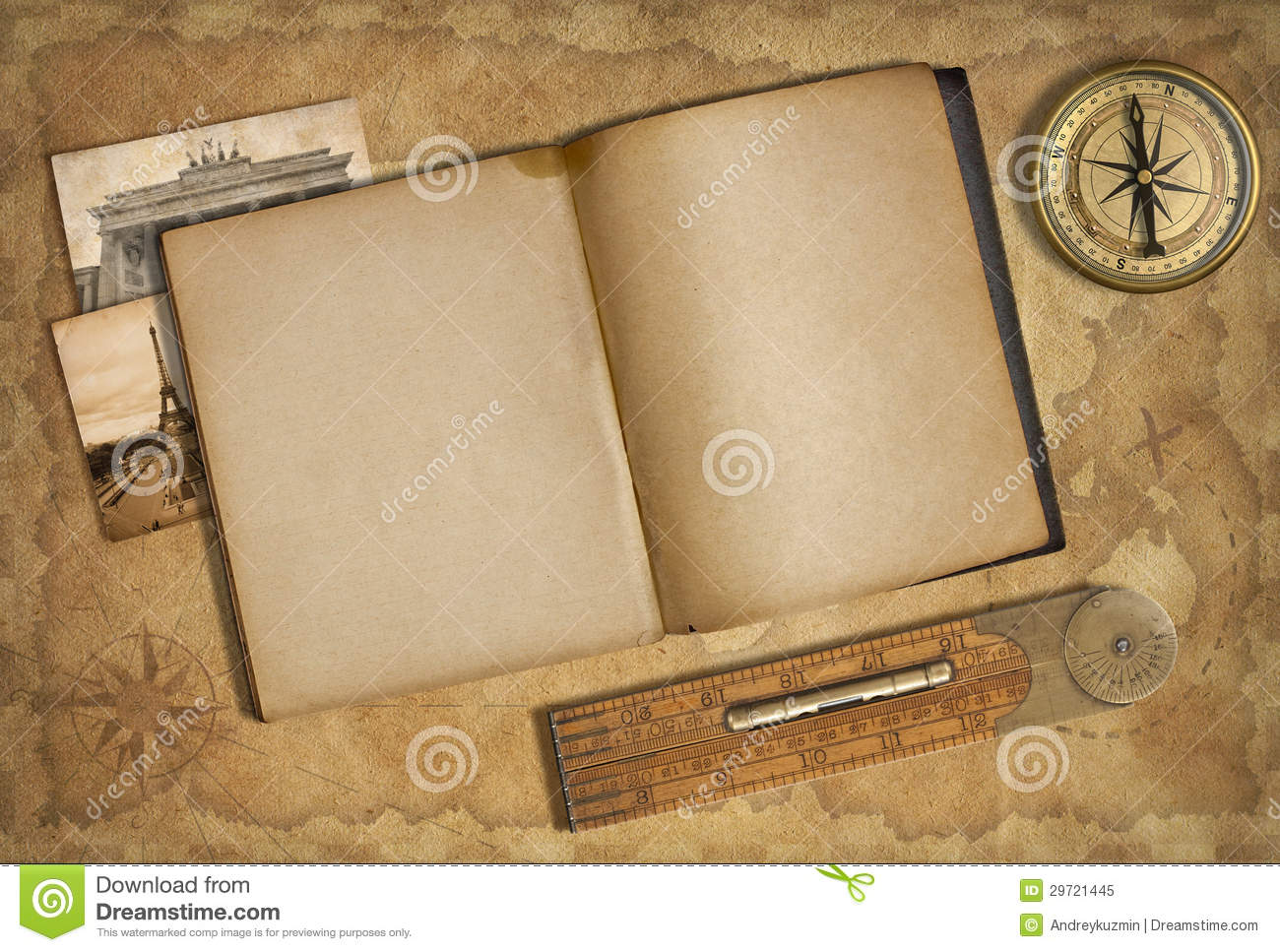open diary over old treasure map stock illustration