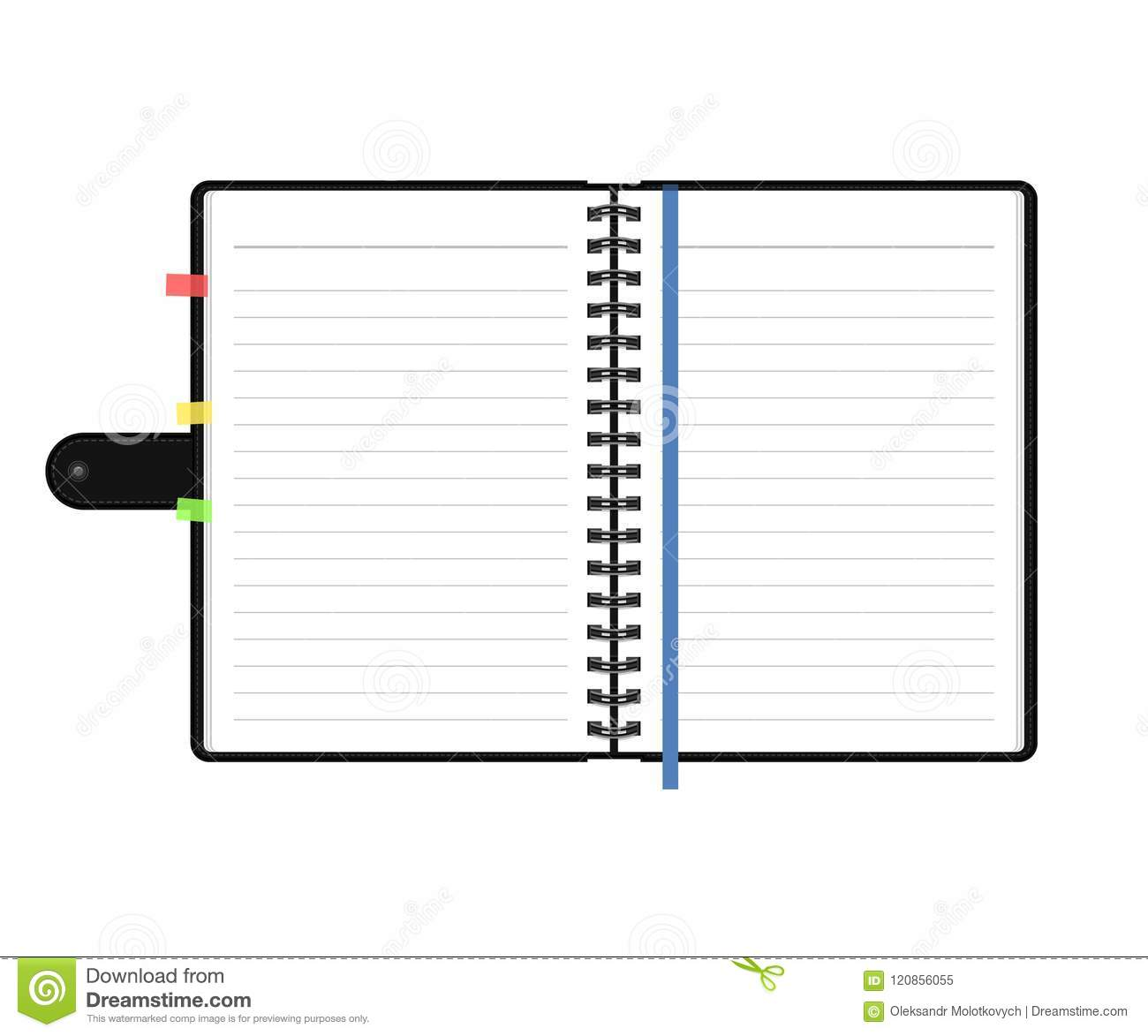 open diary or personal organizer with empty pages isolated on white