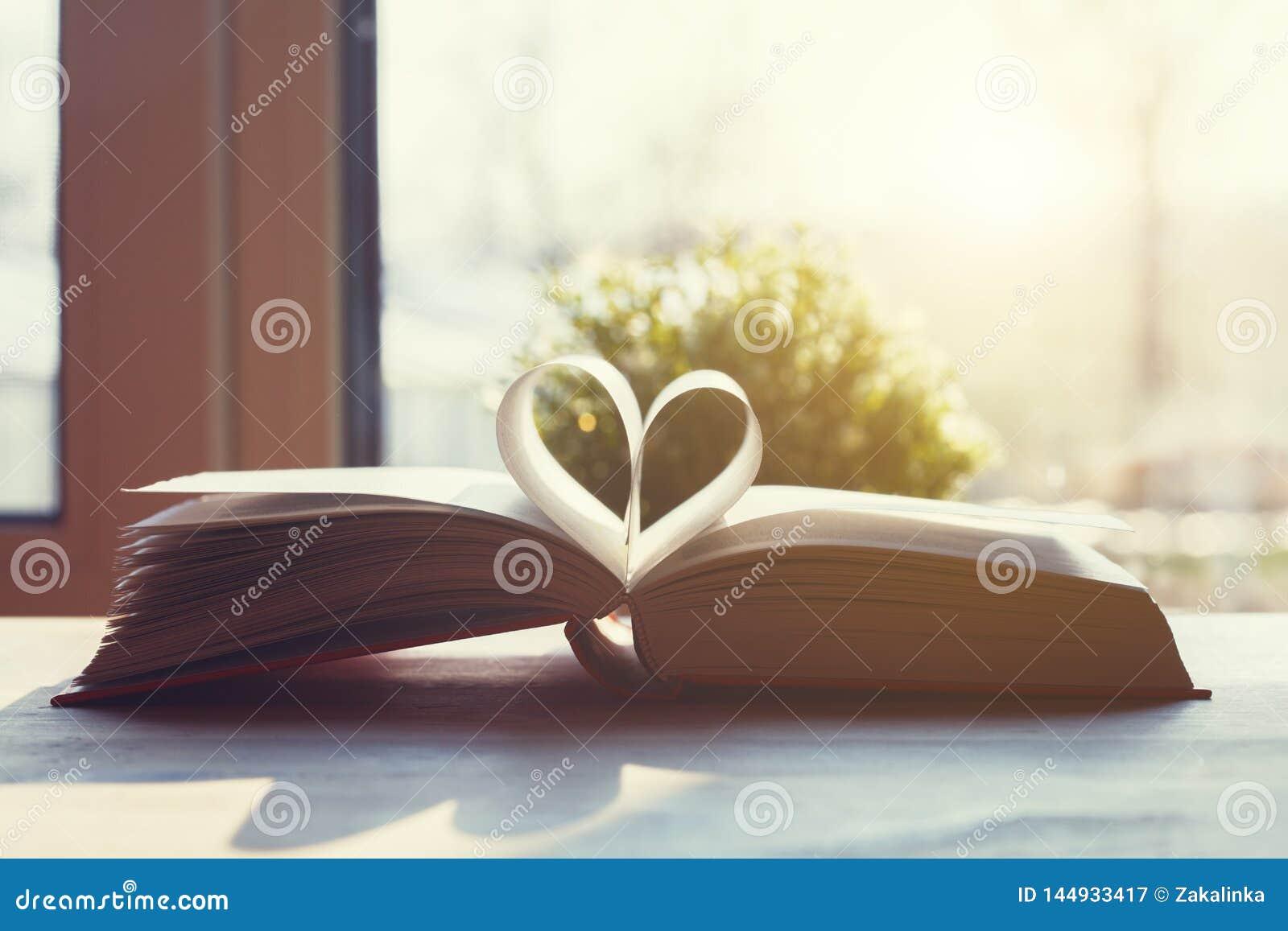 Open die boek met pagina s als hart op houten lijst gestalte worden gegeven