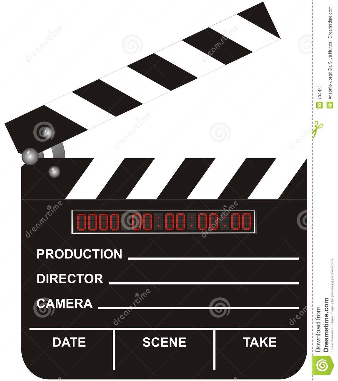 Open digital movie clapboard isolated on white background