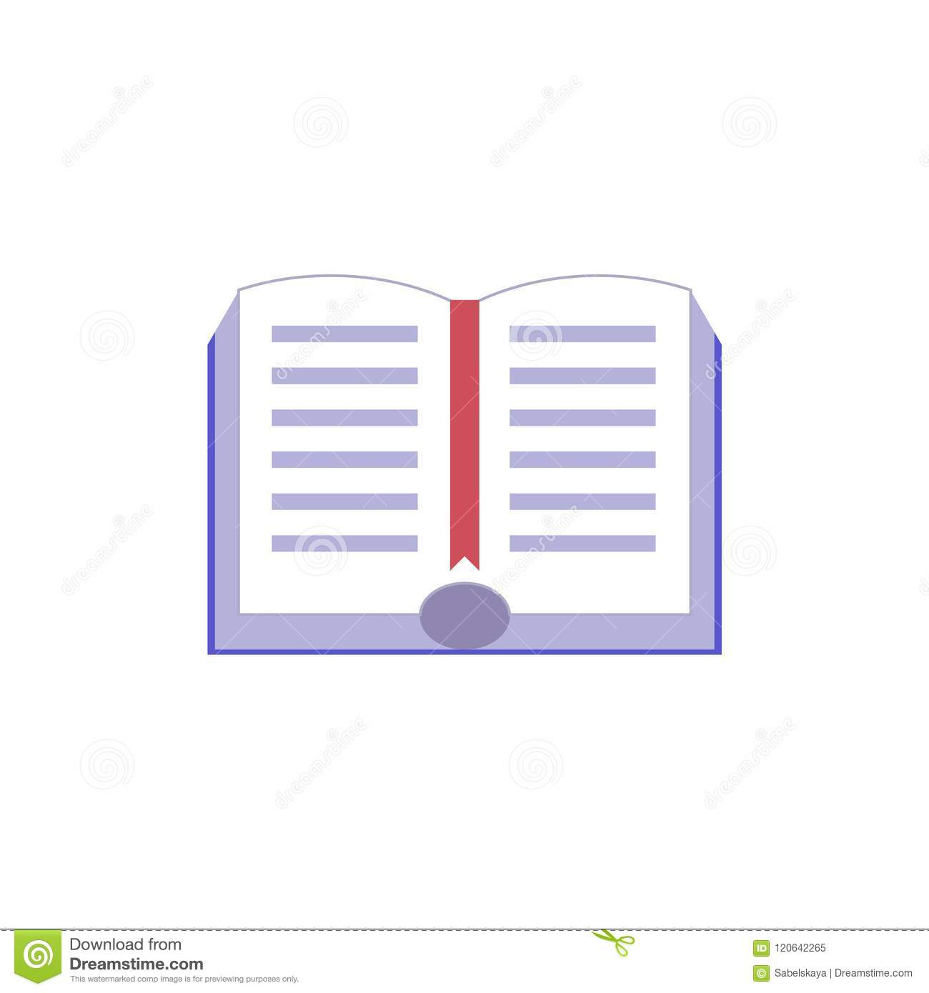 Open document boek met hardcover en rood referentie vlak pictogram