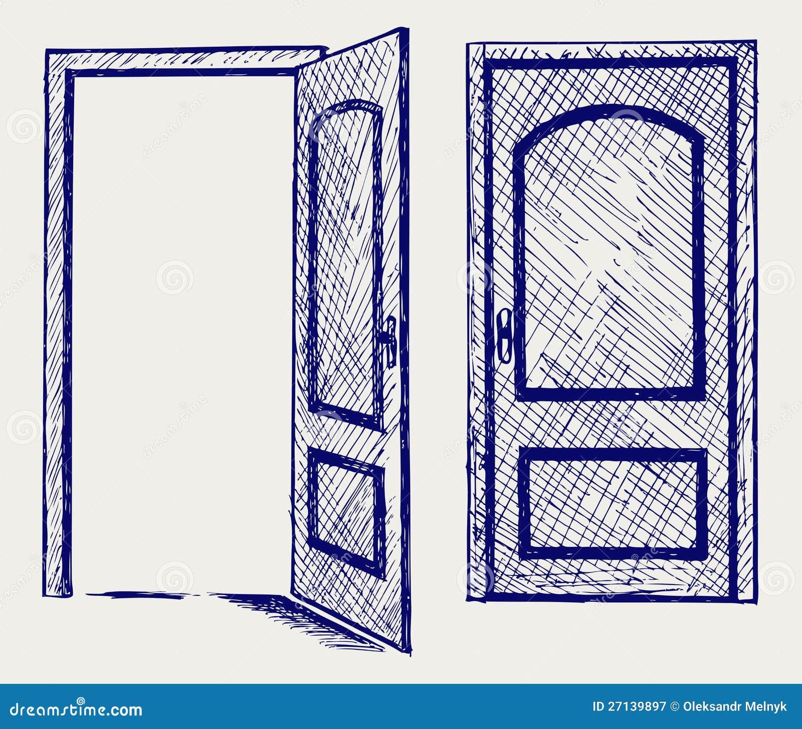 open door drawing open door stock vector illustration of design image 27139897
