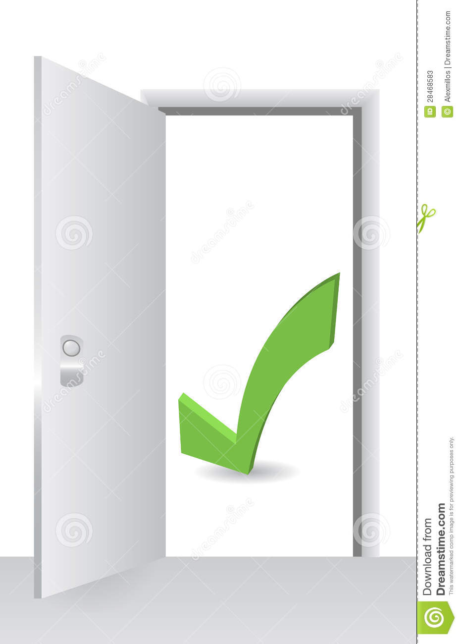 open door with accept symbol stock photos image 28468583