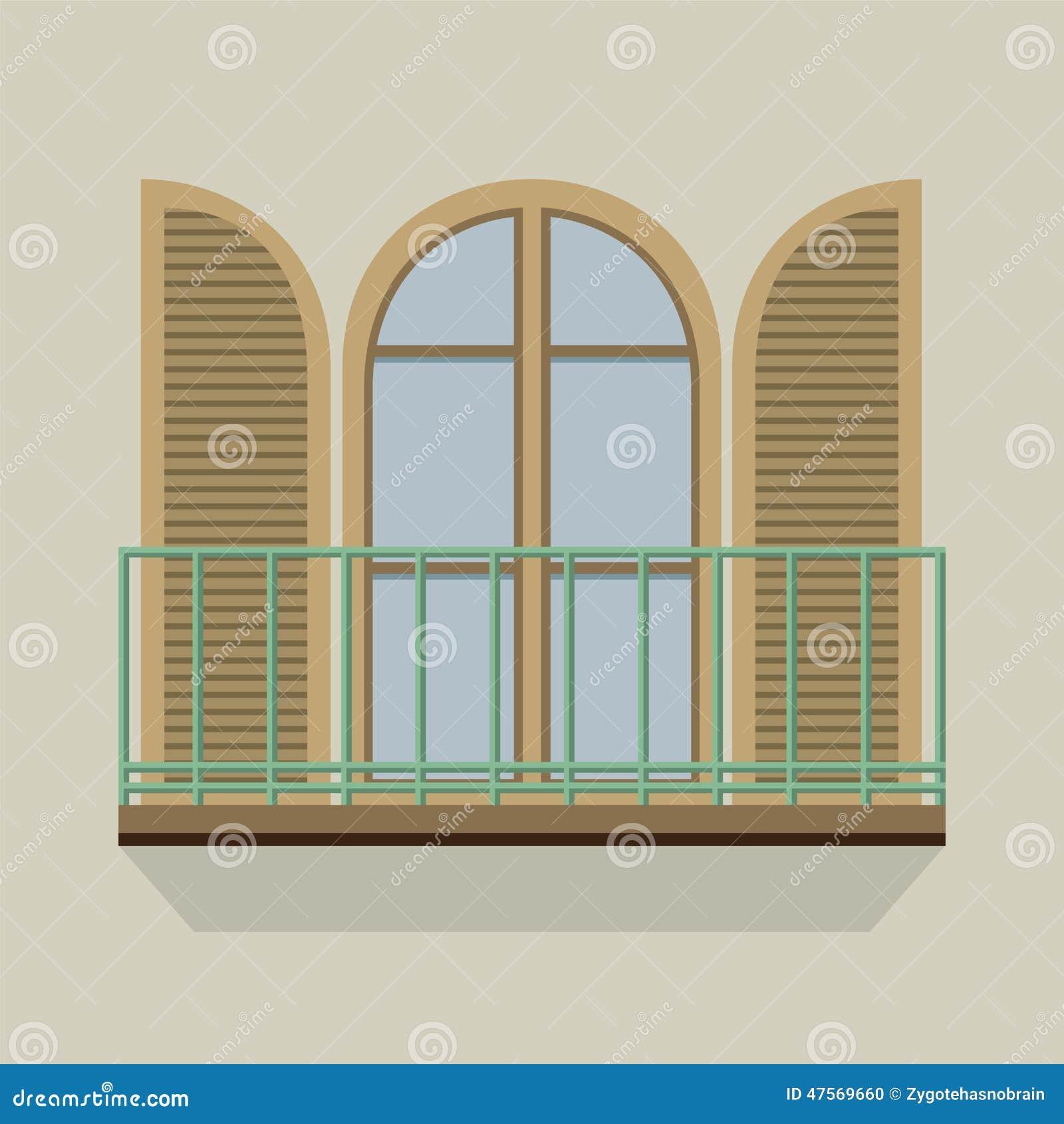 Open door with balcony vintage style stock vector image for Balcony vector