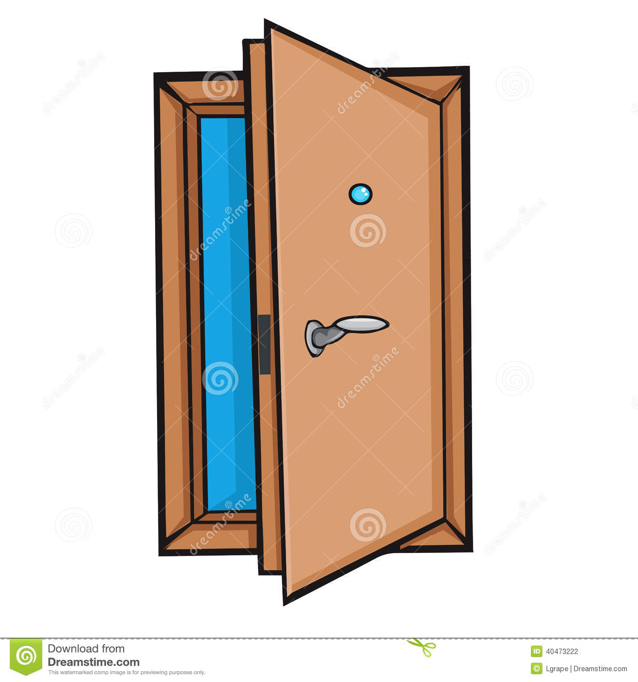 Open door cartoon style stock vector image of for Porte ouverte