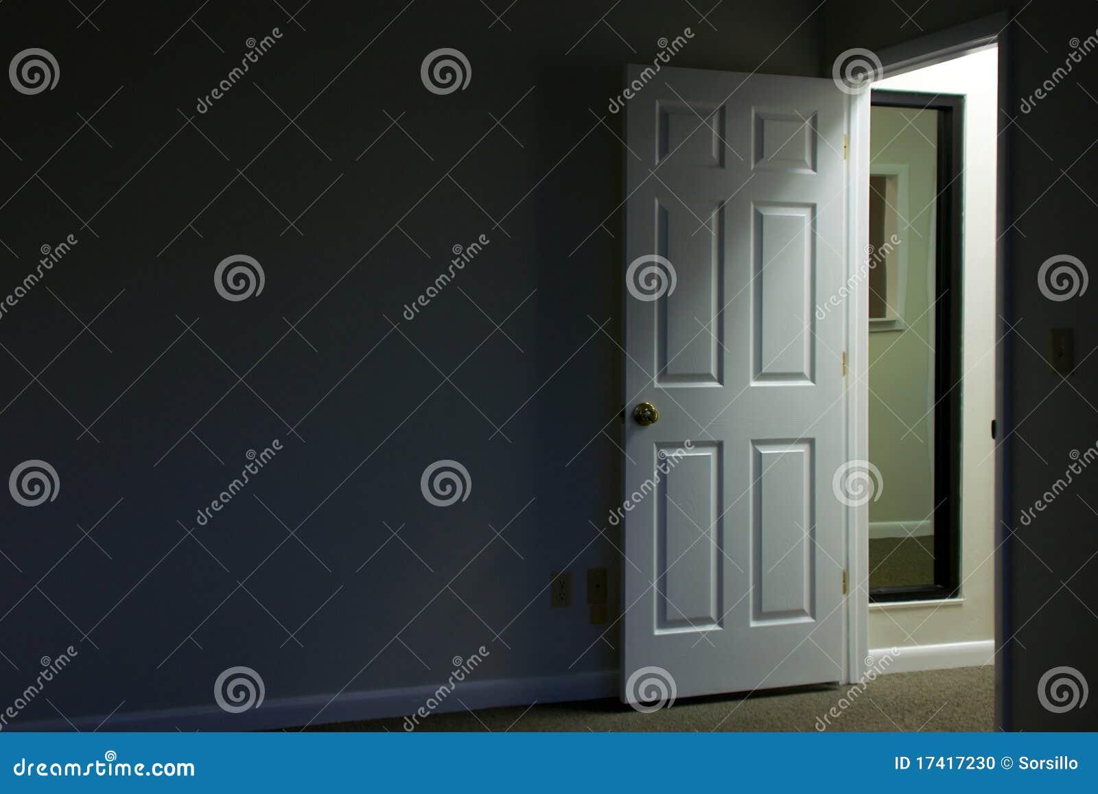 Open door in dark room stock photo. Image of office, dark