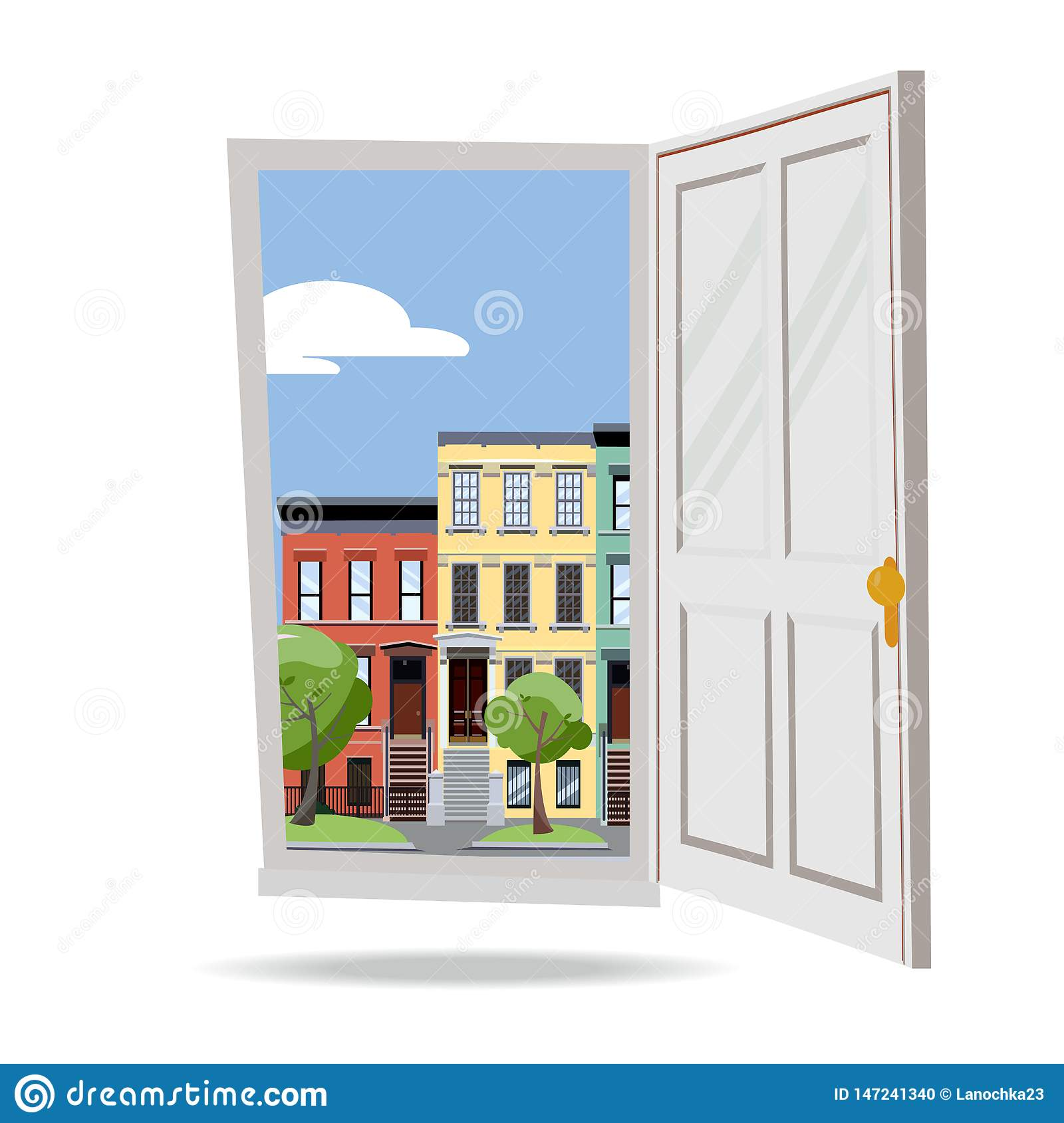 Open door into day summer city view with green leaves trees on white background. Flat cartoon style illustration. Three-four-story