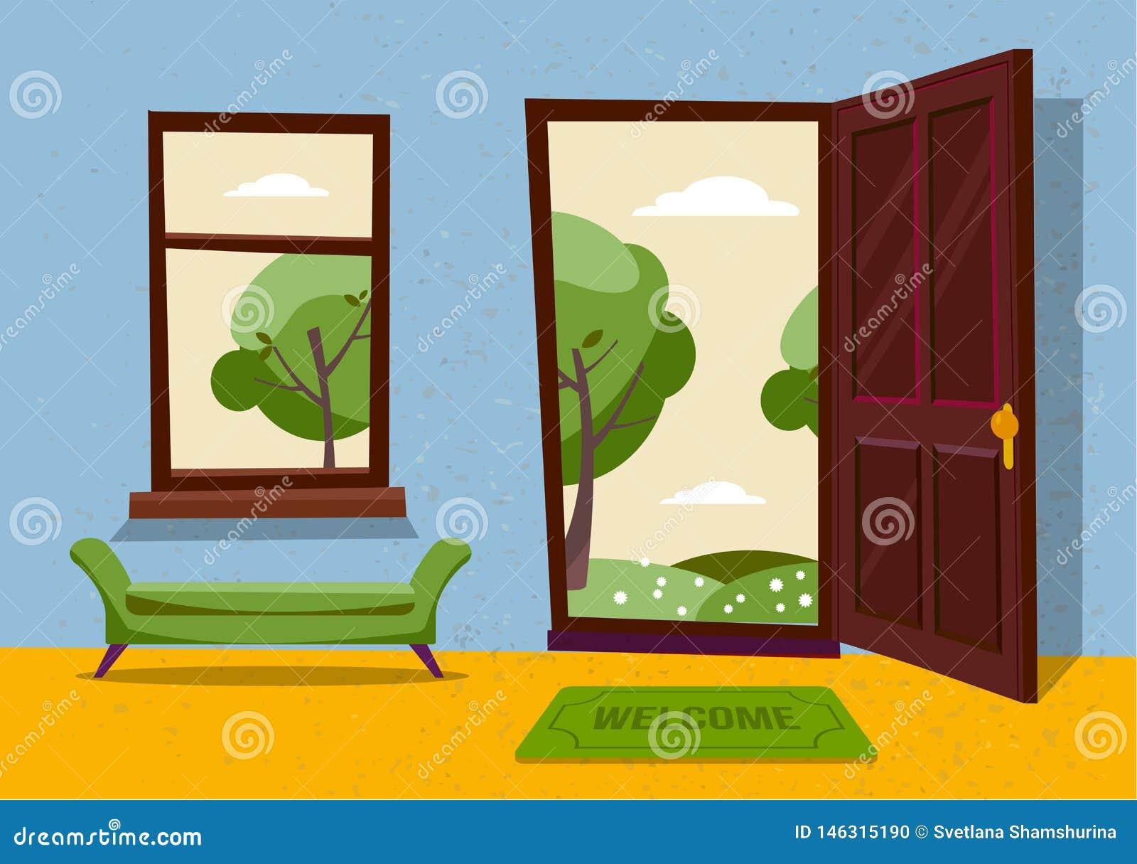 Open door into hot summer landscape fair weather view with freen park trees. Door mat and green bench in room. Flat cartoon