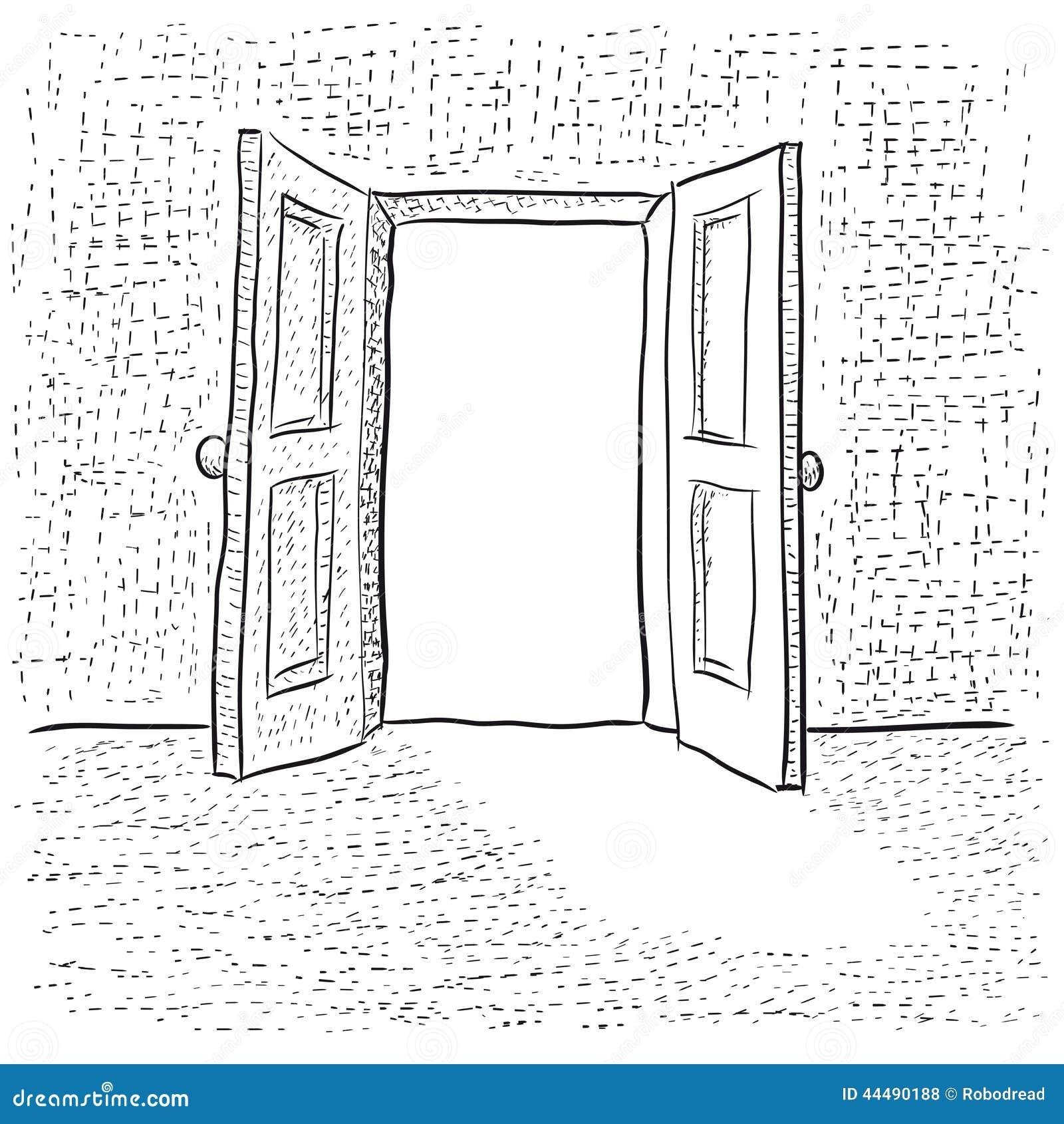 open door drawing illustration with an open door to concept open stock vector of house depth 44490188