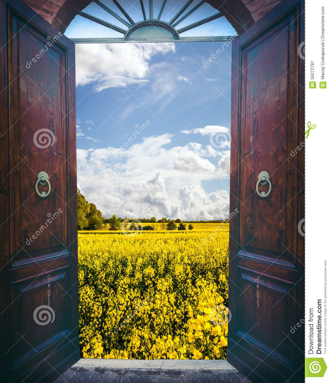 Open door and landscape & Open door and landscape stock image. Image of clouds - 59272787