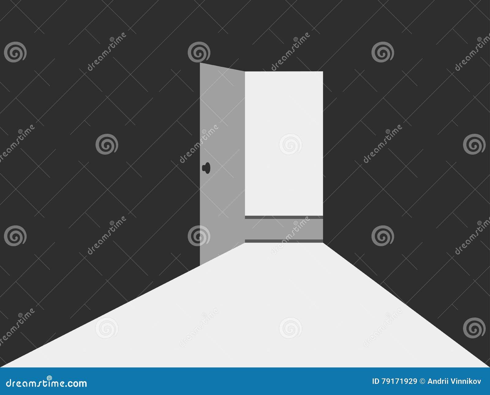 Open Door Dark Room open door with light. light from the open door. open door to a