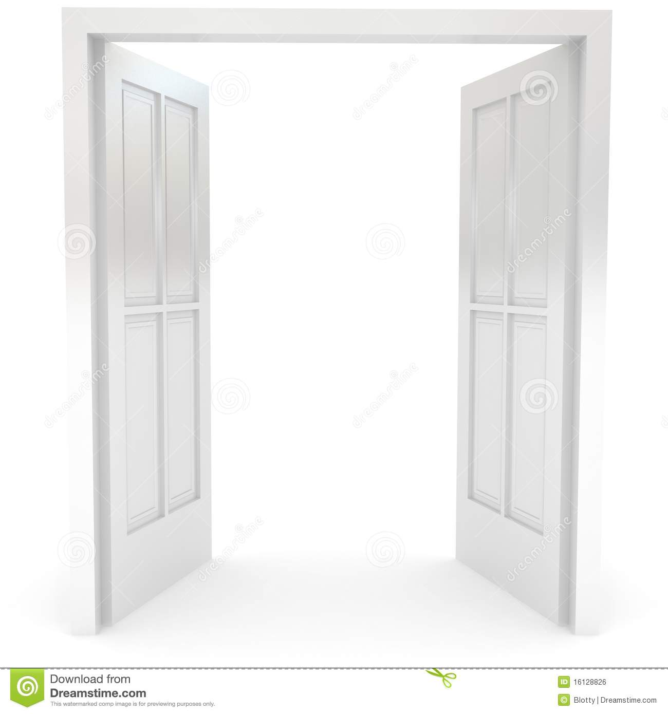 Open Door Over White Royalty Free Stock Image - Image: 16128826