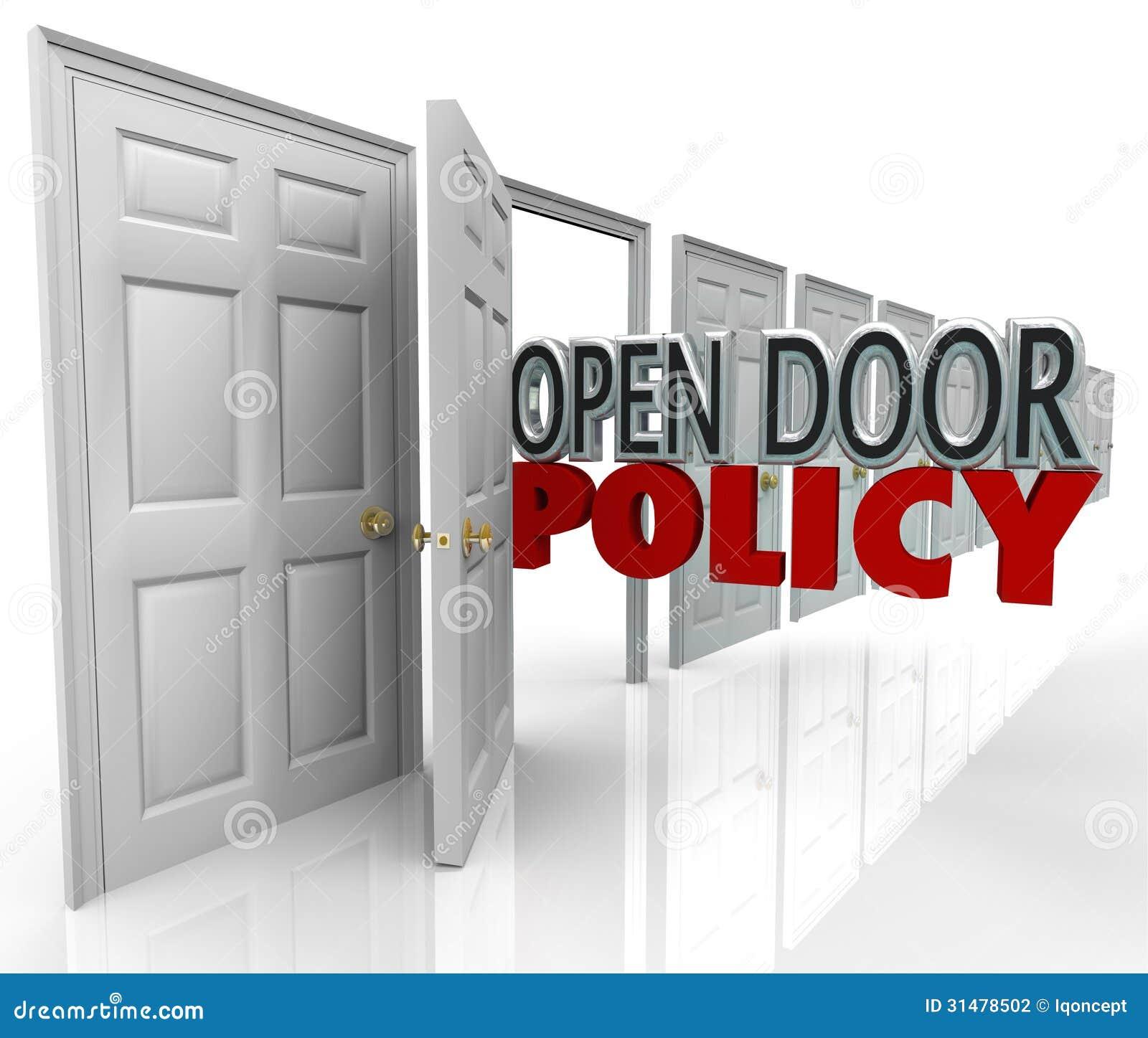 Open Door Welcome : Open door policy words management welcome communication