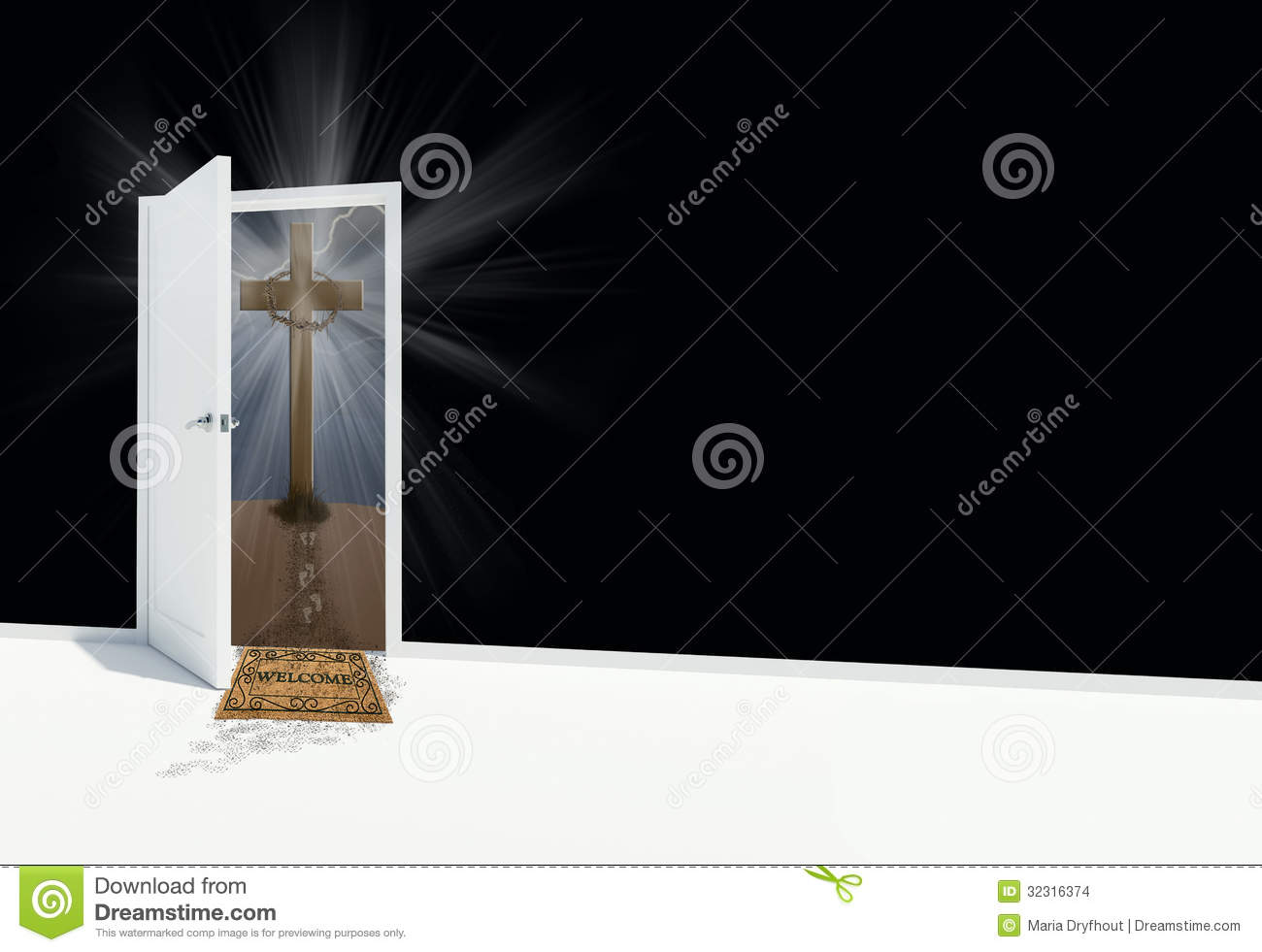 White open door with religious cross and welcome mat Open Door Welcome Mat