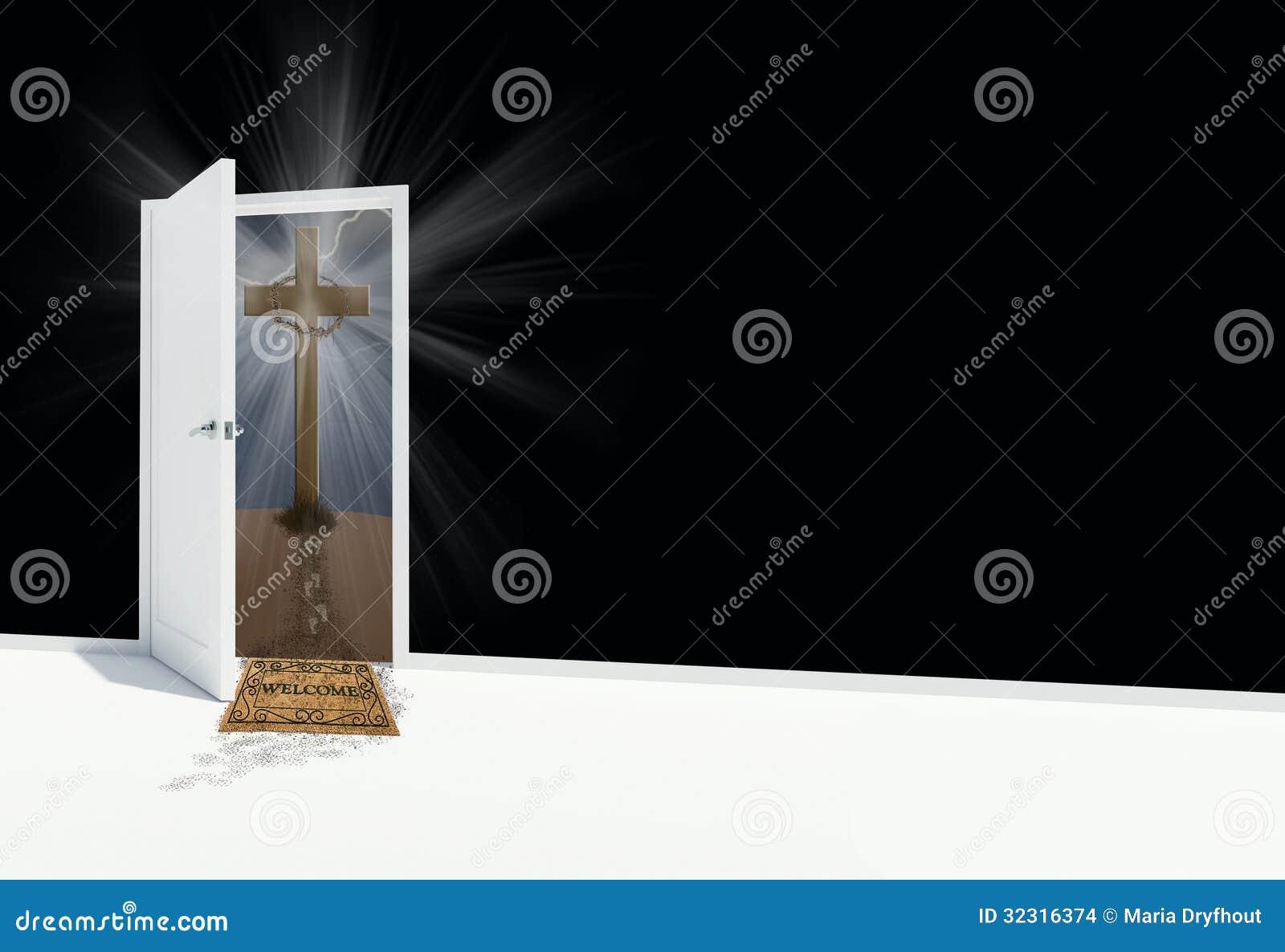 White open door with religious cross and welcome mat Open Door Welcome Mat
