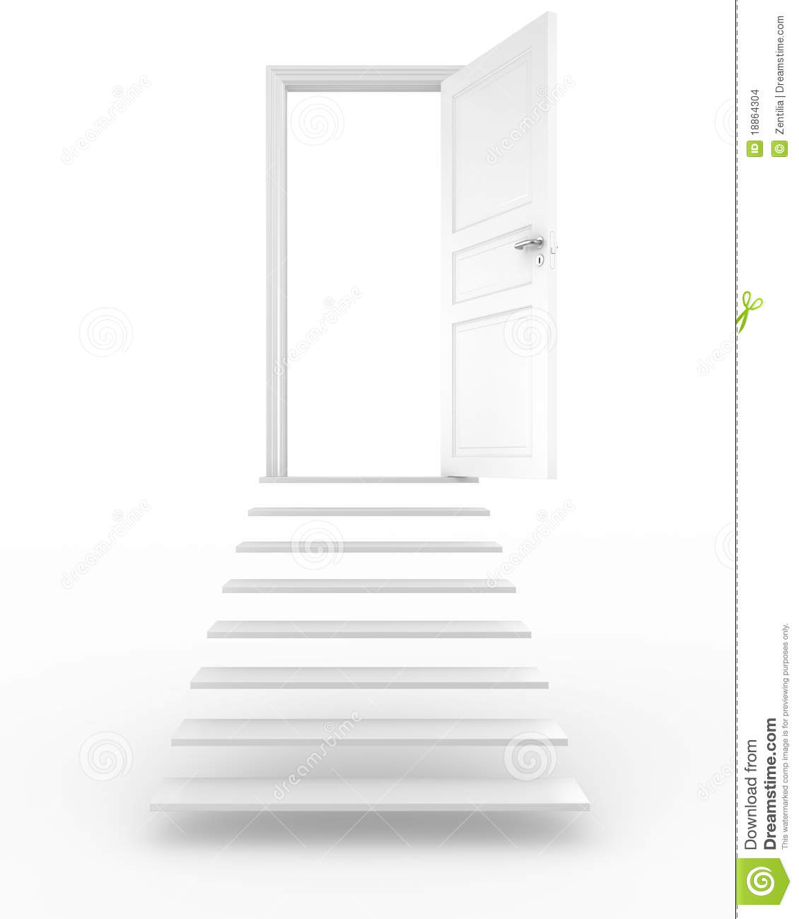 Open Door With Stairs Stock Illustration  Illustration Of