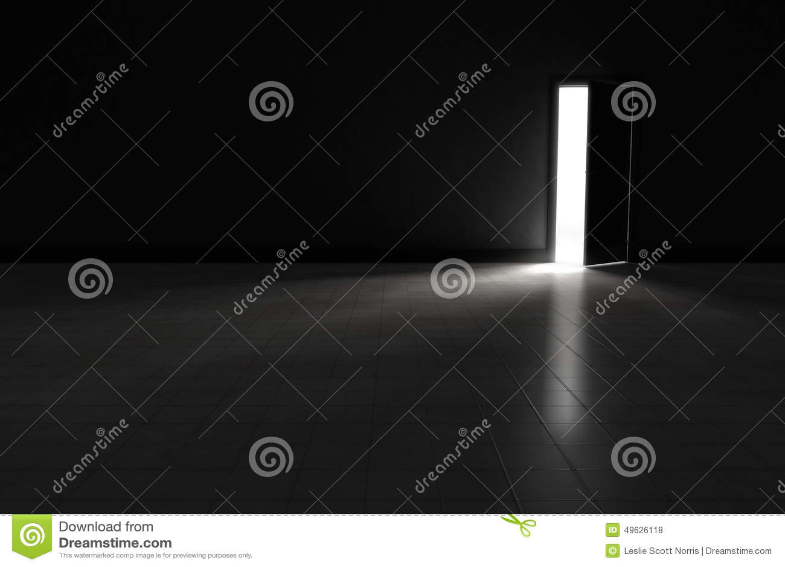 Open door to dark room with bright light shining in. Background