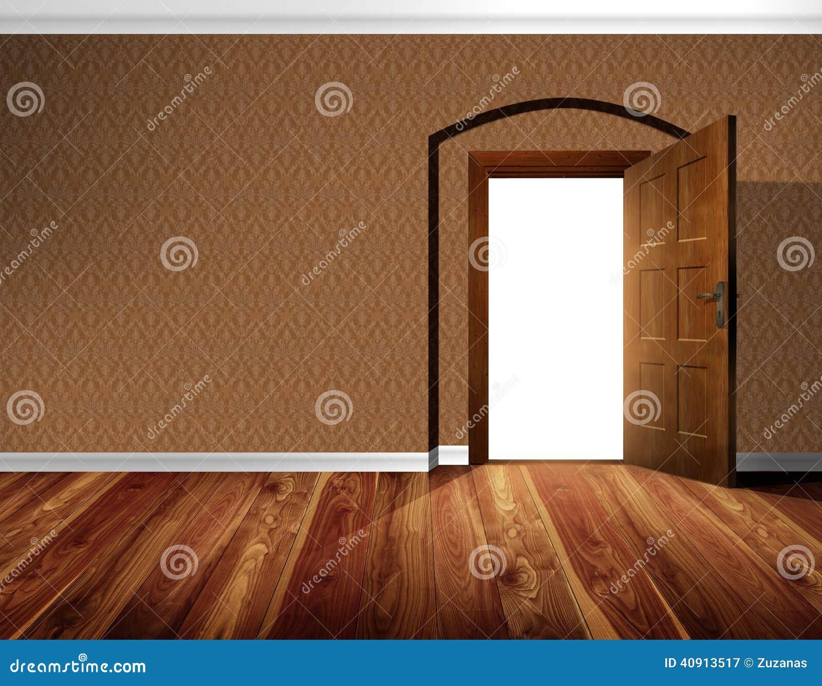 Open Door Wallpaper Wall Wooden Floor Stock Photo