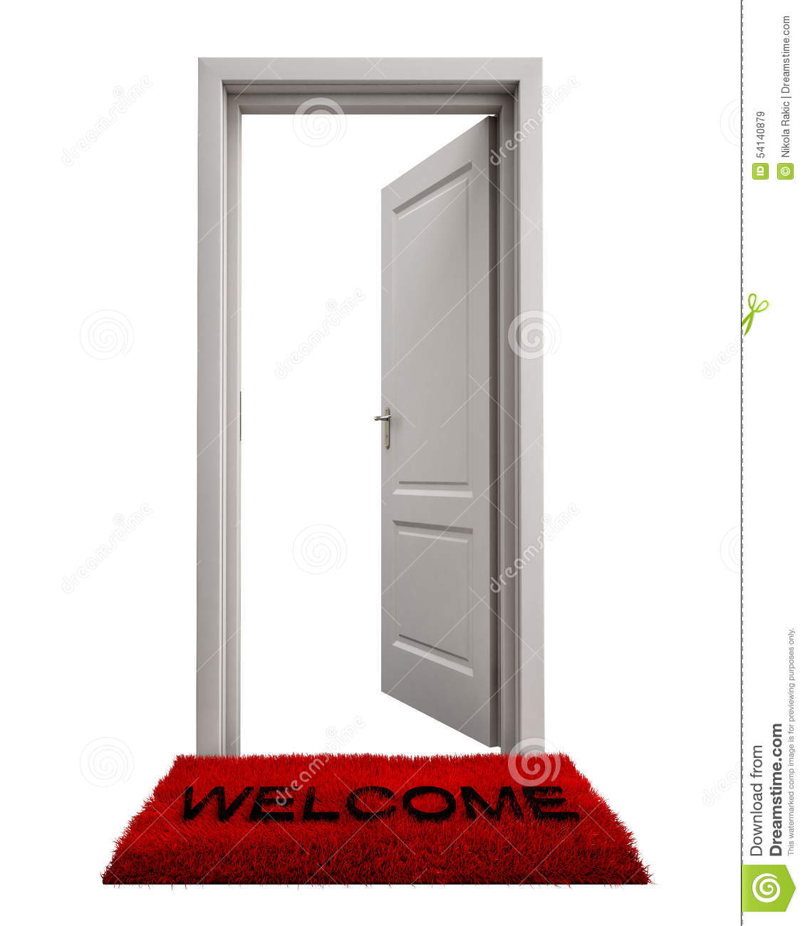 Open closed door clipart - Open Door With Welcome Mat Isolated On White Background