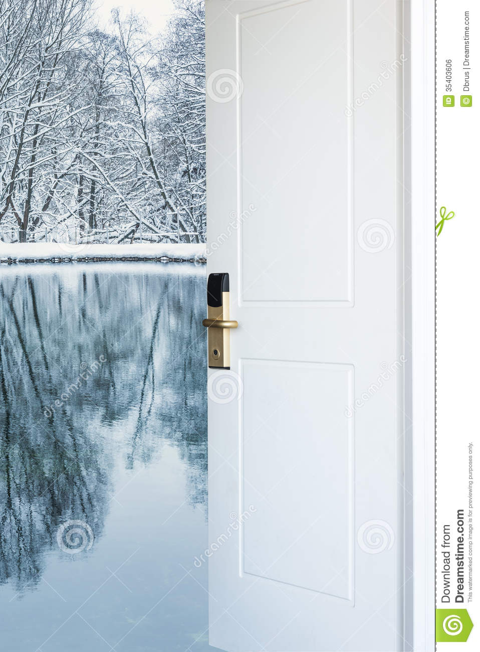 Royalty-Free Stock Photo & Open Door And A Winter Forest Stock Photo - Image: 35403606 pezcame.com