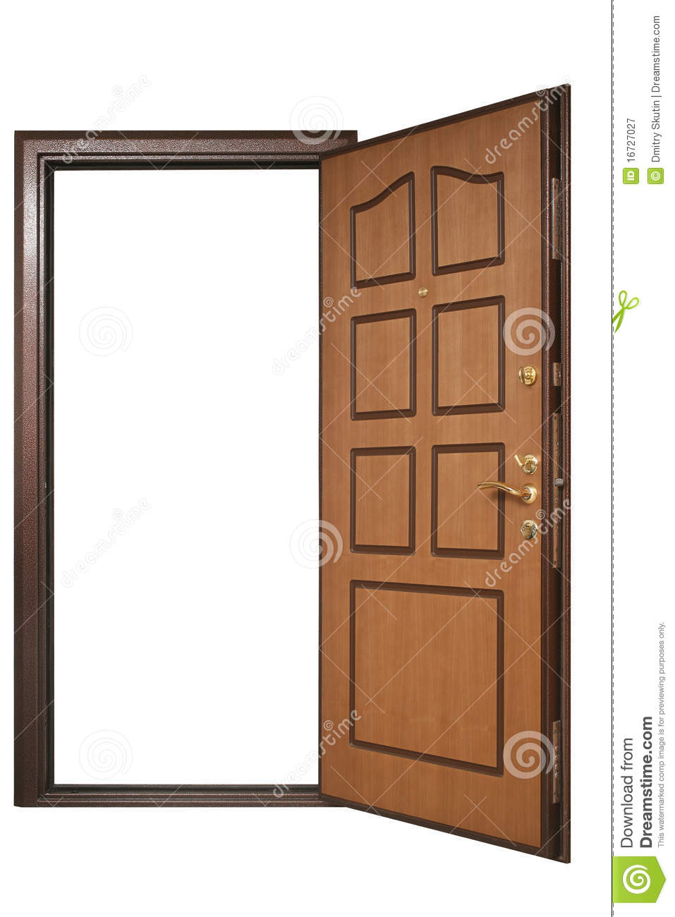 Open door with wood trim royalty free stock photography for Porte ouverte
