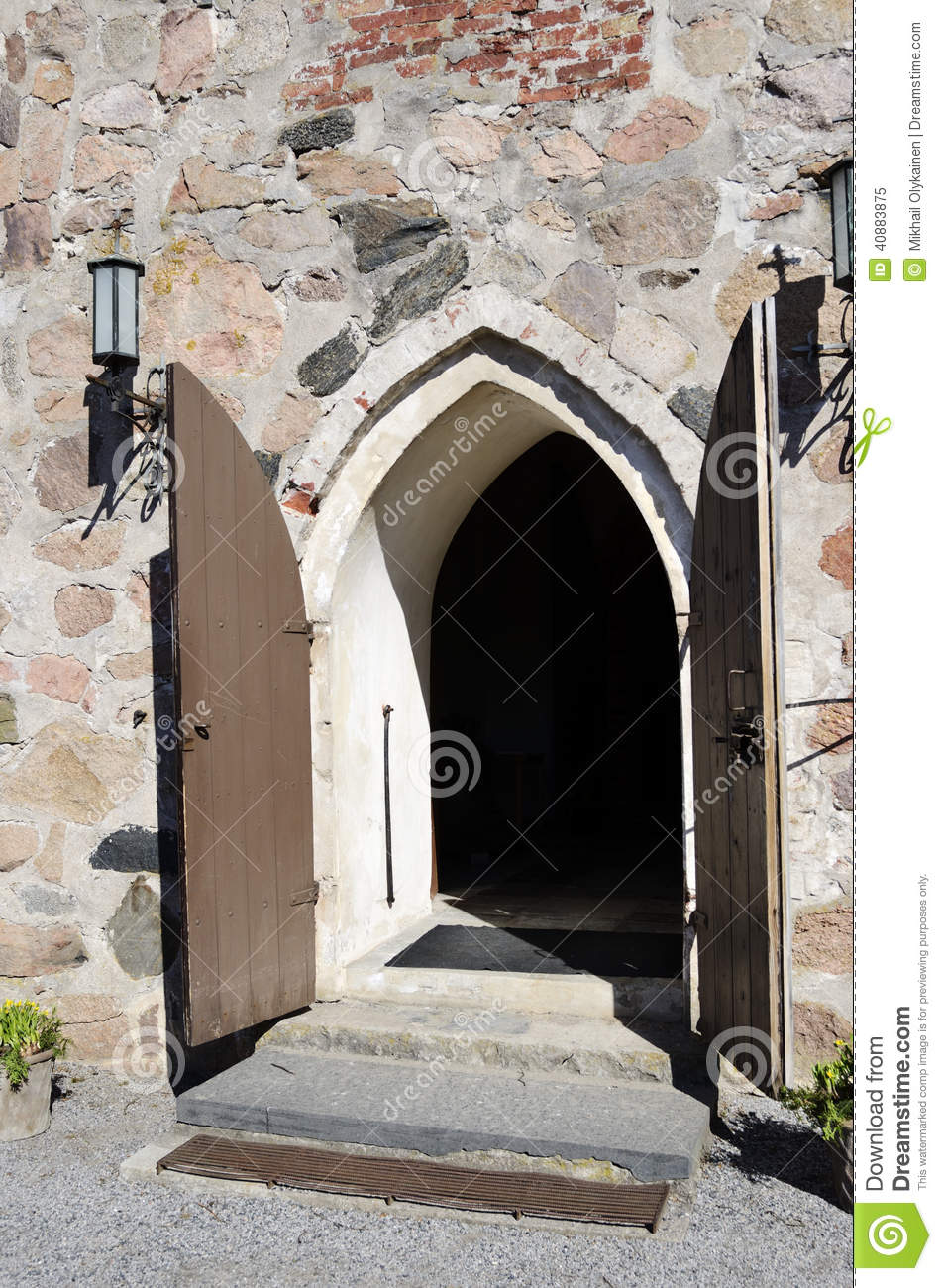 Open doors of medieval stone church stock photo image for Door of stone
