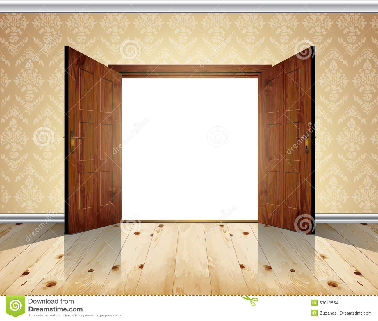 open double door stock vector illustration of modern