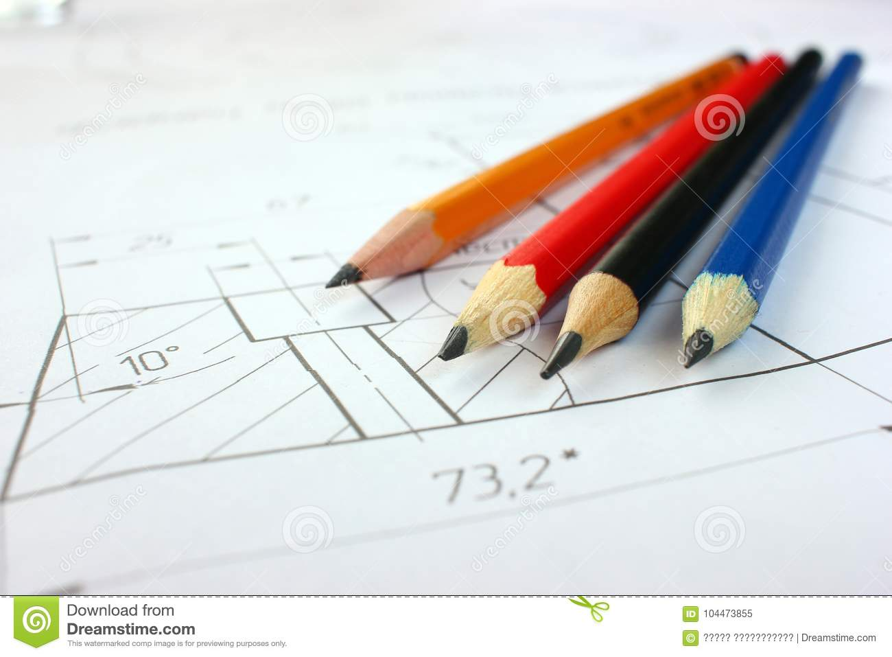 Open drawings with a pencil. Engineering and design. Construction projects