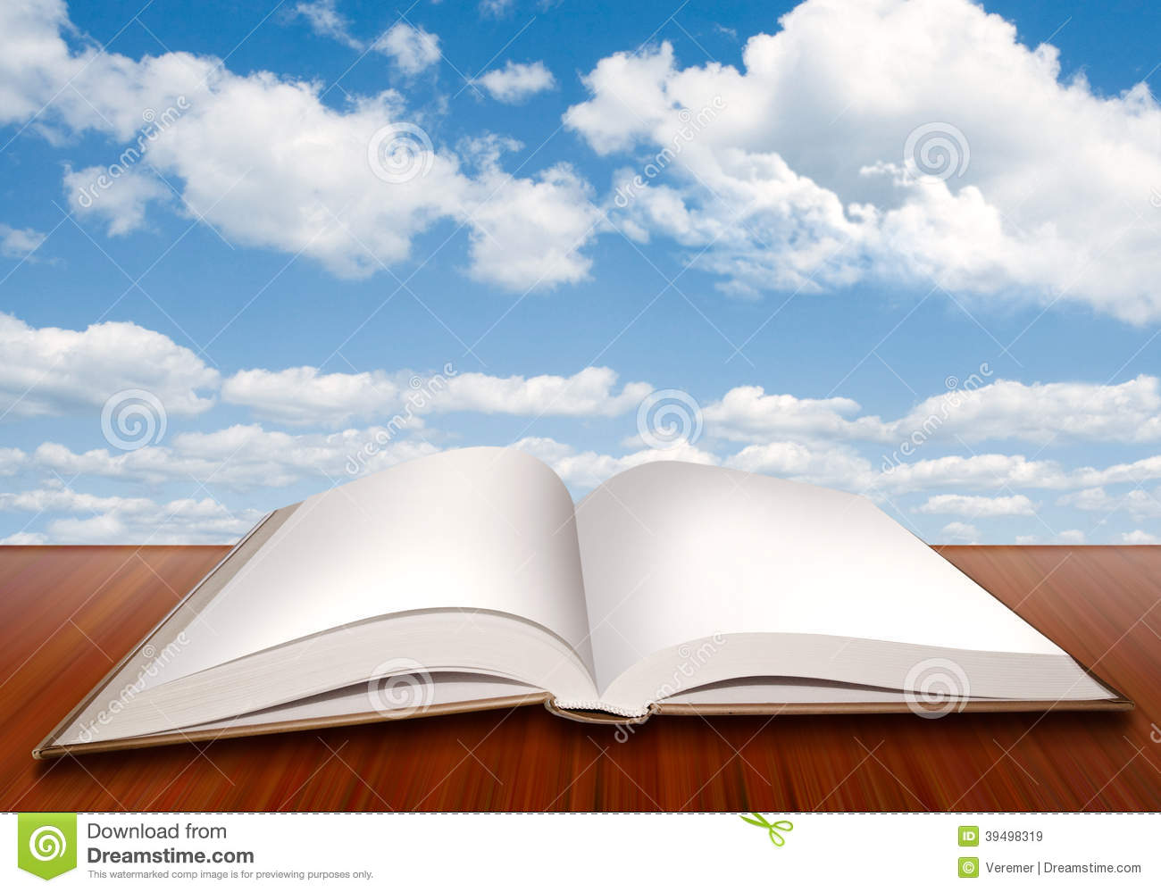 open empty book with blank pages and blue sky stock