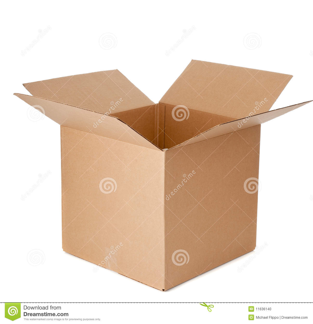 An open empty cardboard box
