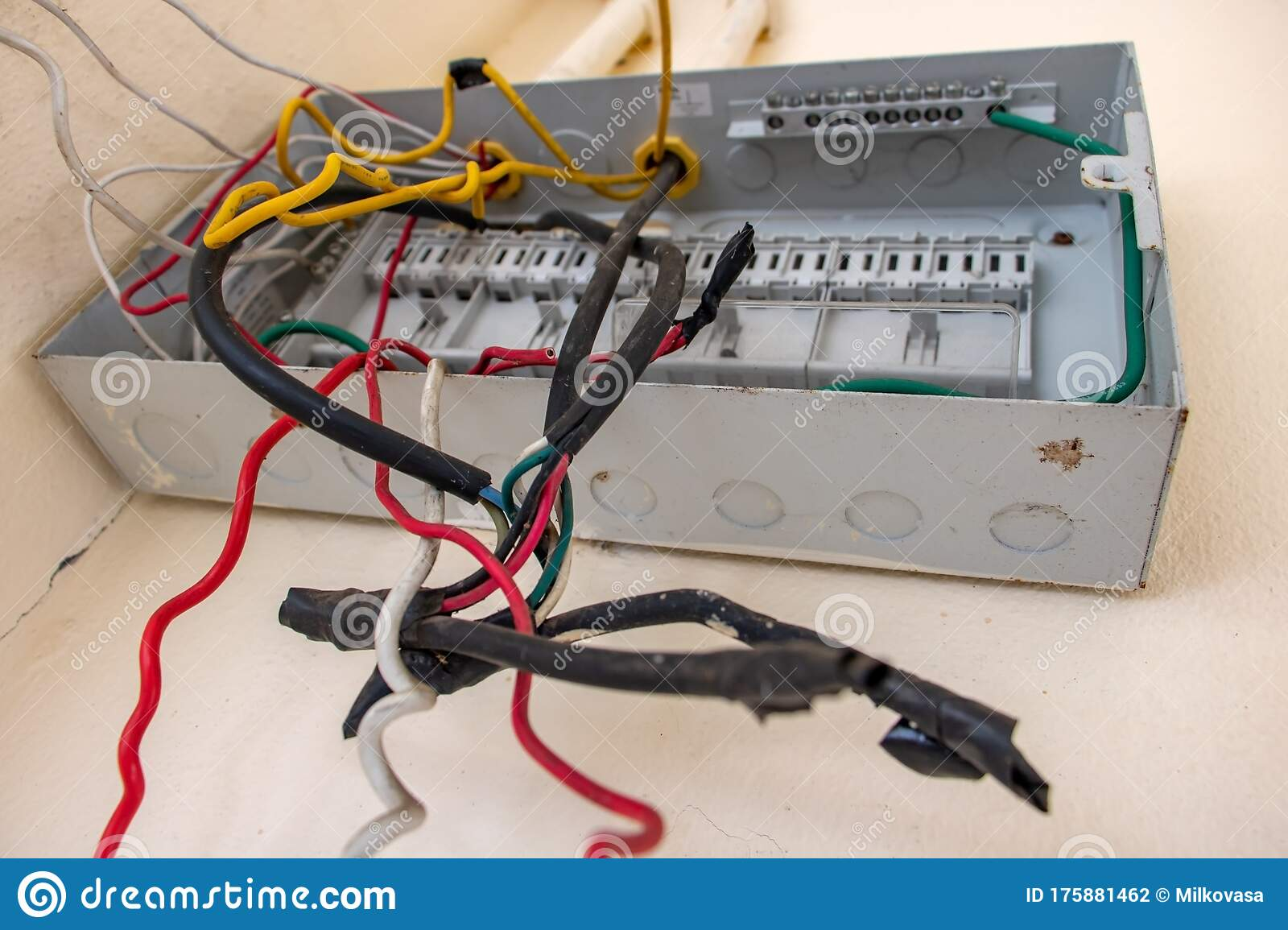 [SCHEMATICS_48EU]  A Open Empty Electricity Fuse Box With Cables On White Wall. Stock Photo -  Image of fusebox, empty: 175881462   Fuse Box Electricity      Dreamstime.com