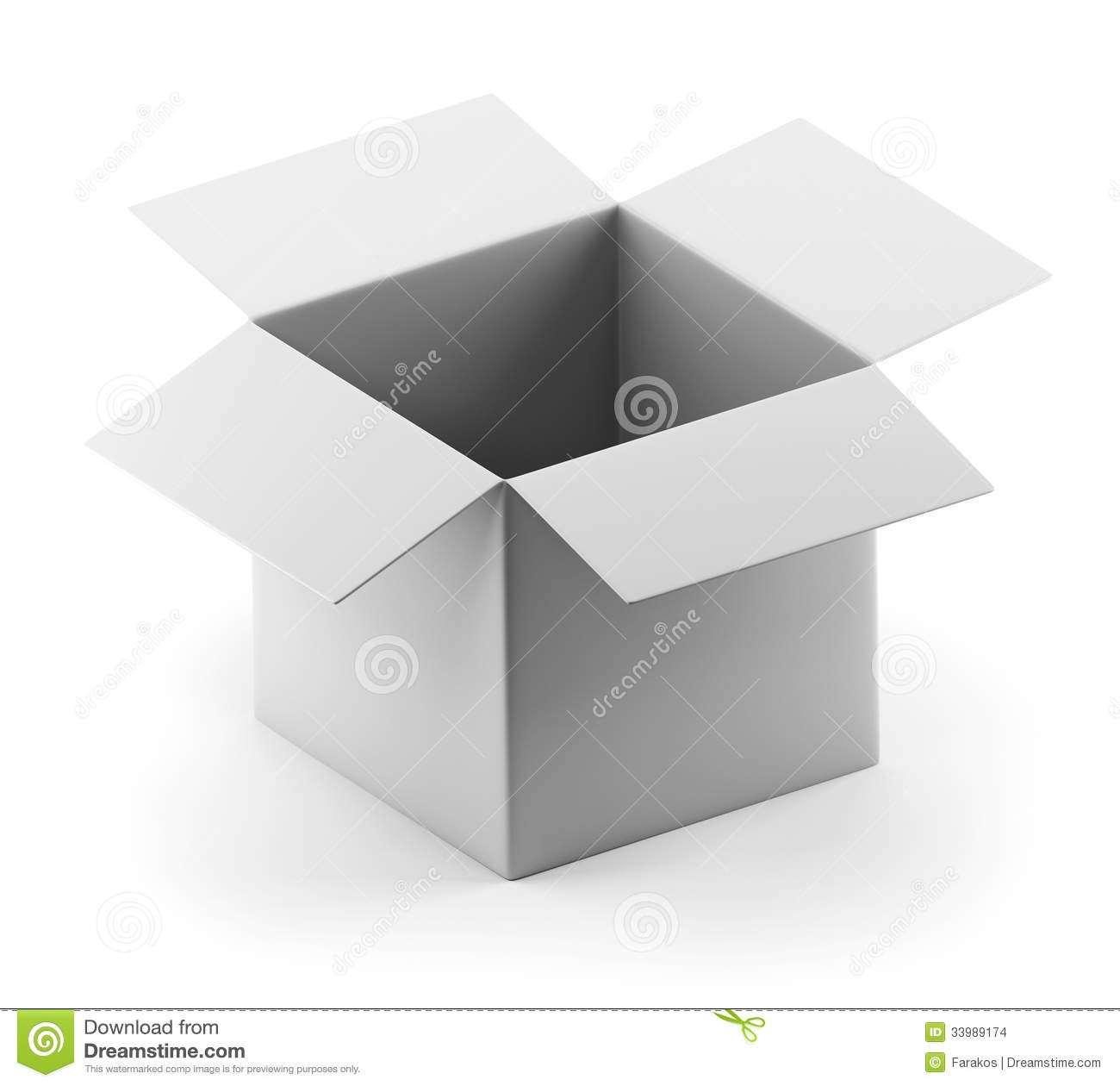 Empty Open Box On Gray Background. Stock Photography ...