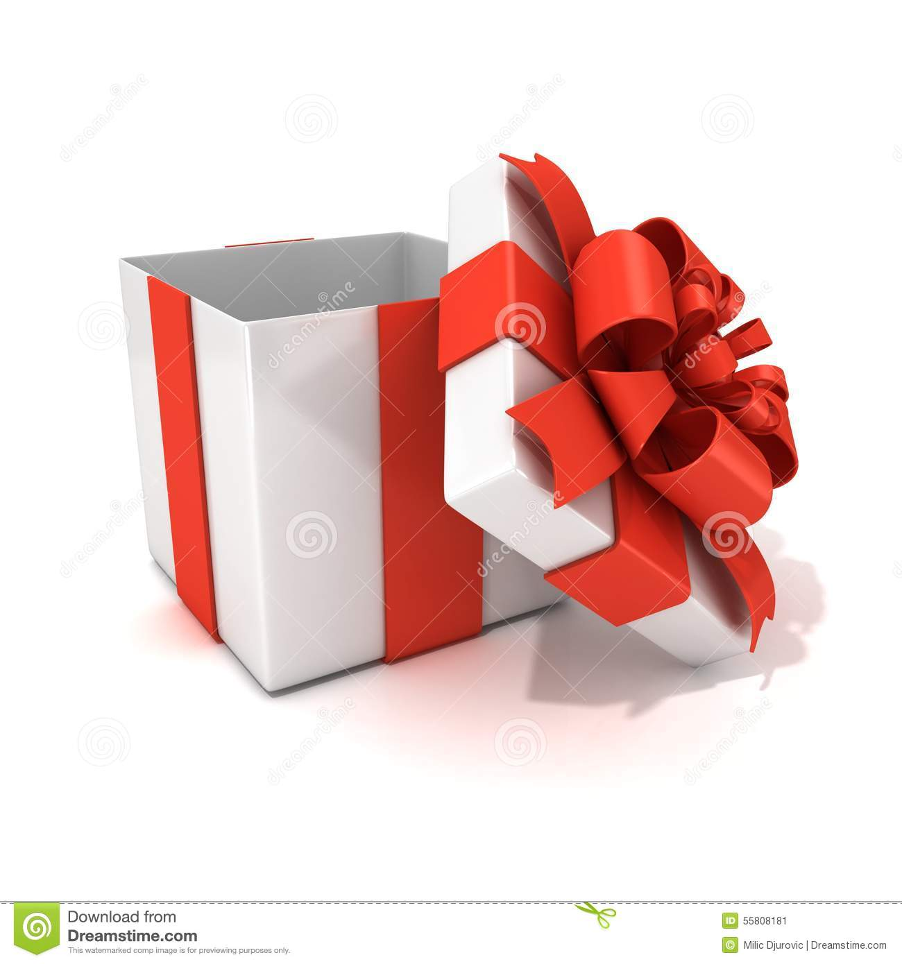 Open, Empty, White Gift Box With Red Ribbon Stock ...