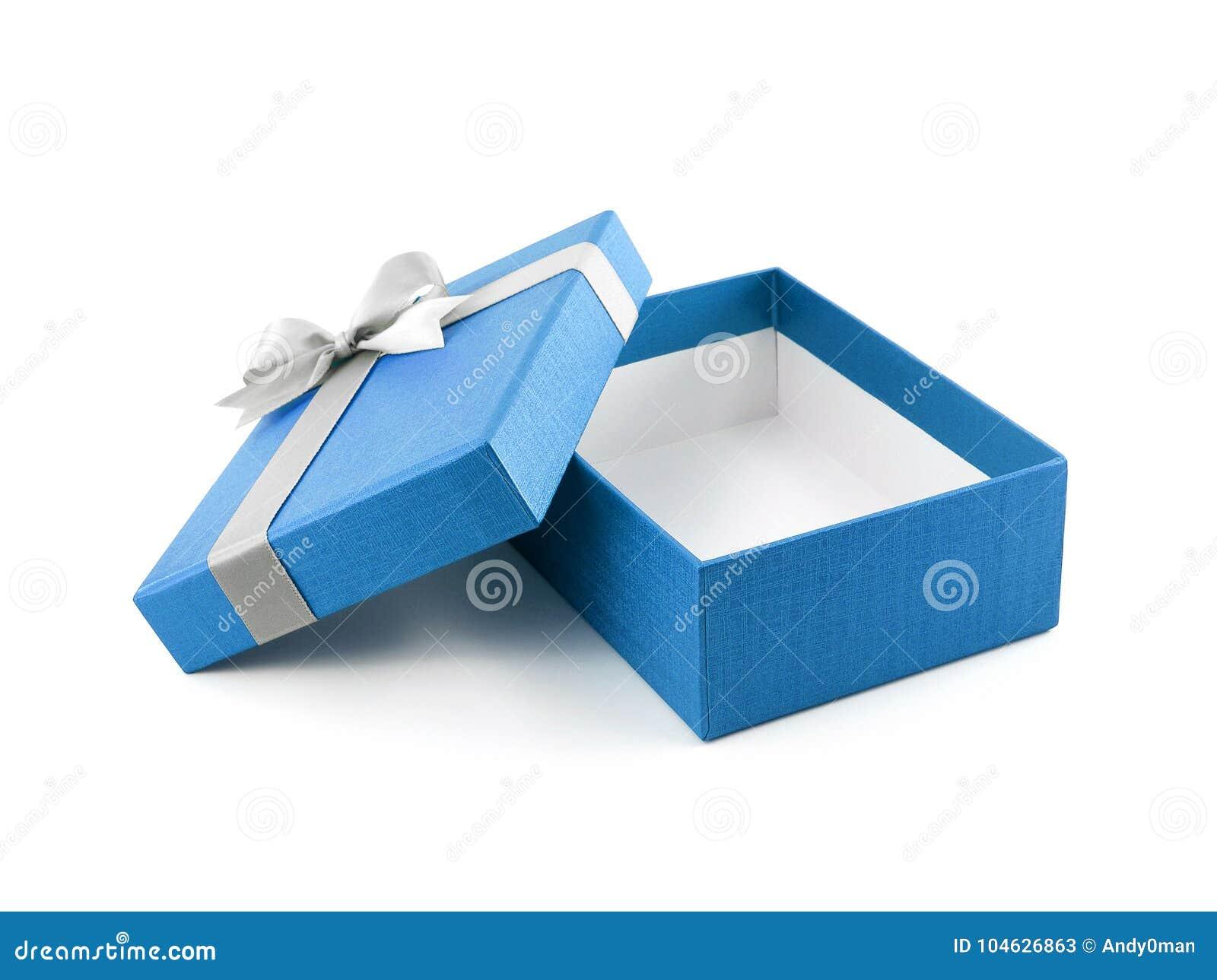 Download Open En Lege Blauwe Giftdoos Met Witte Lintboog Op Witte Achtergrond Stock Afbeelding - Afbeelding bestaande uit gift, ontwerp: 104626863