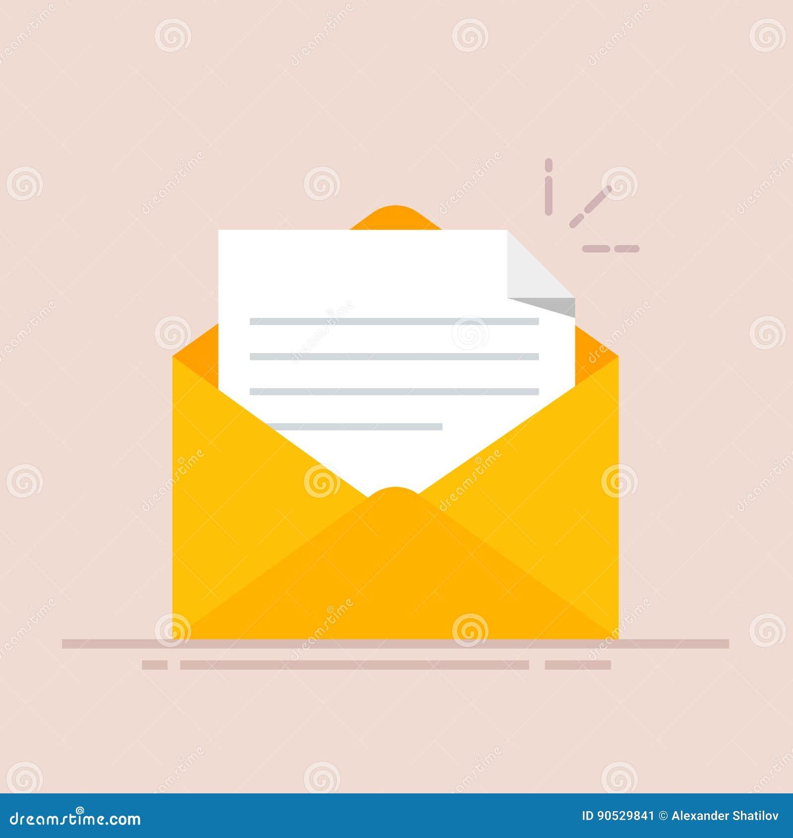 Open envelop met een document Nieuwe brief Het verzenden van correspondentie Vlakke die illustratie op kleurenachtergrond wordt g
