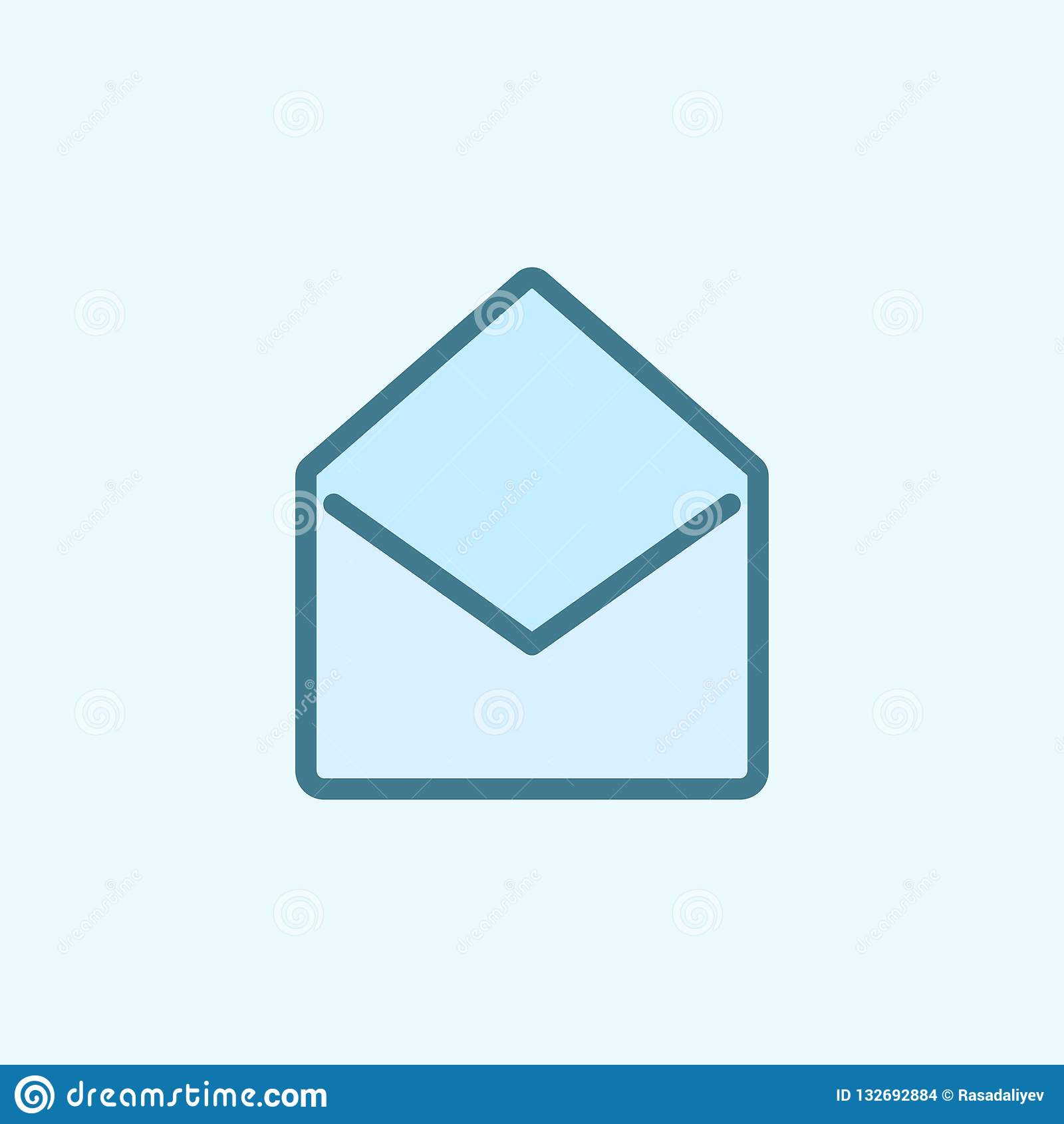 Open Envelope Field Outline Icon. Element Of 2 Color ...